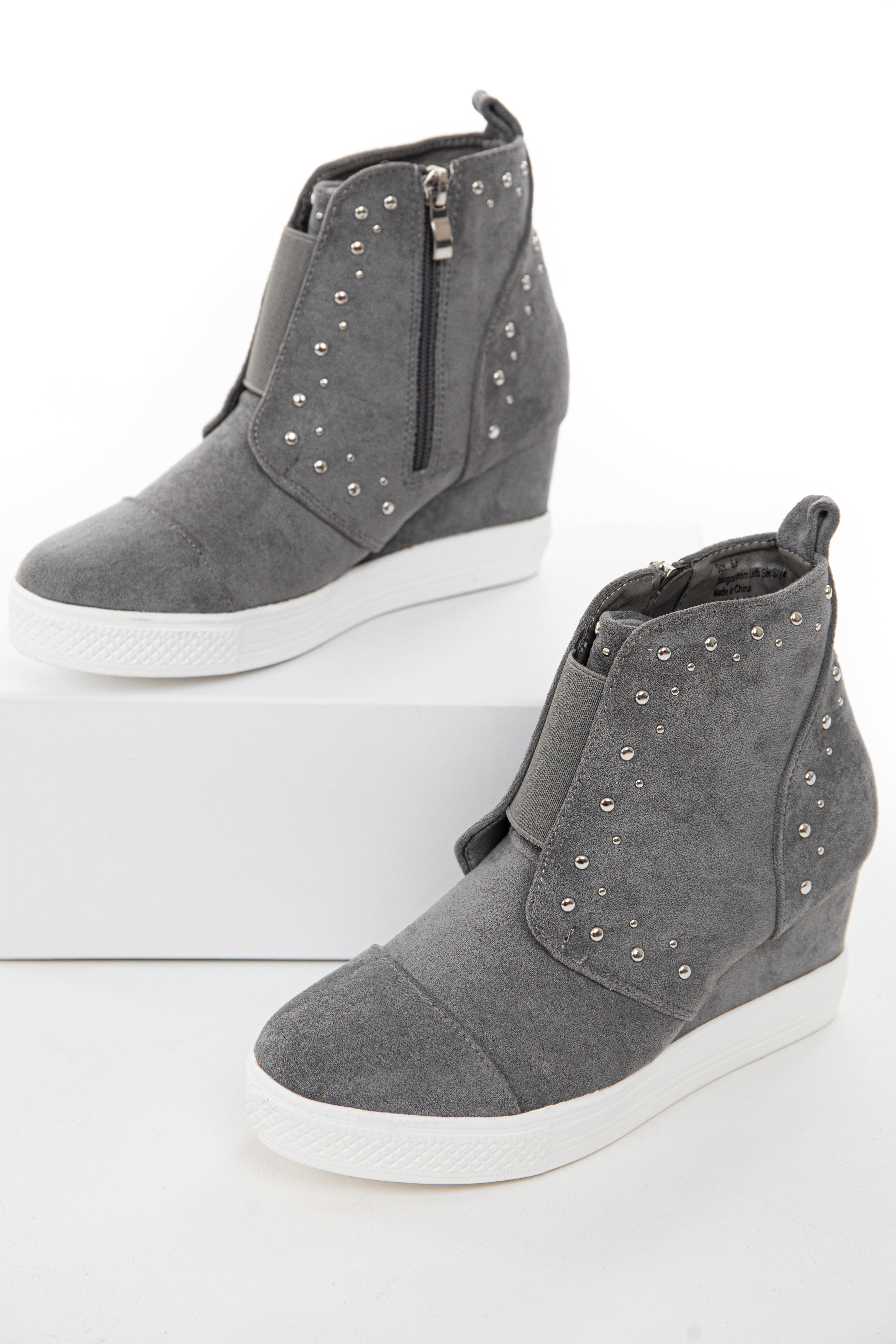 Ash Grey Faux Suede Wedge Sneakers with Silver Stud Details