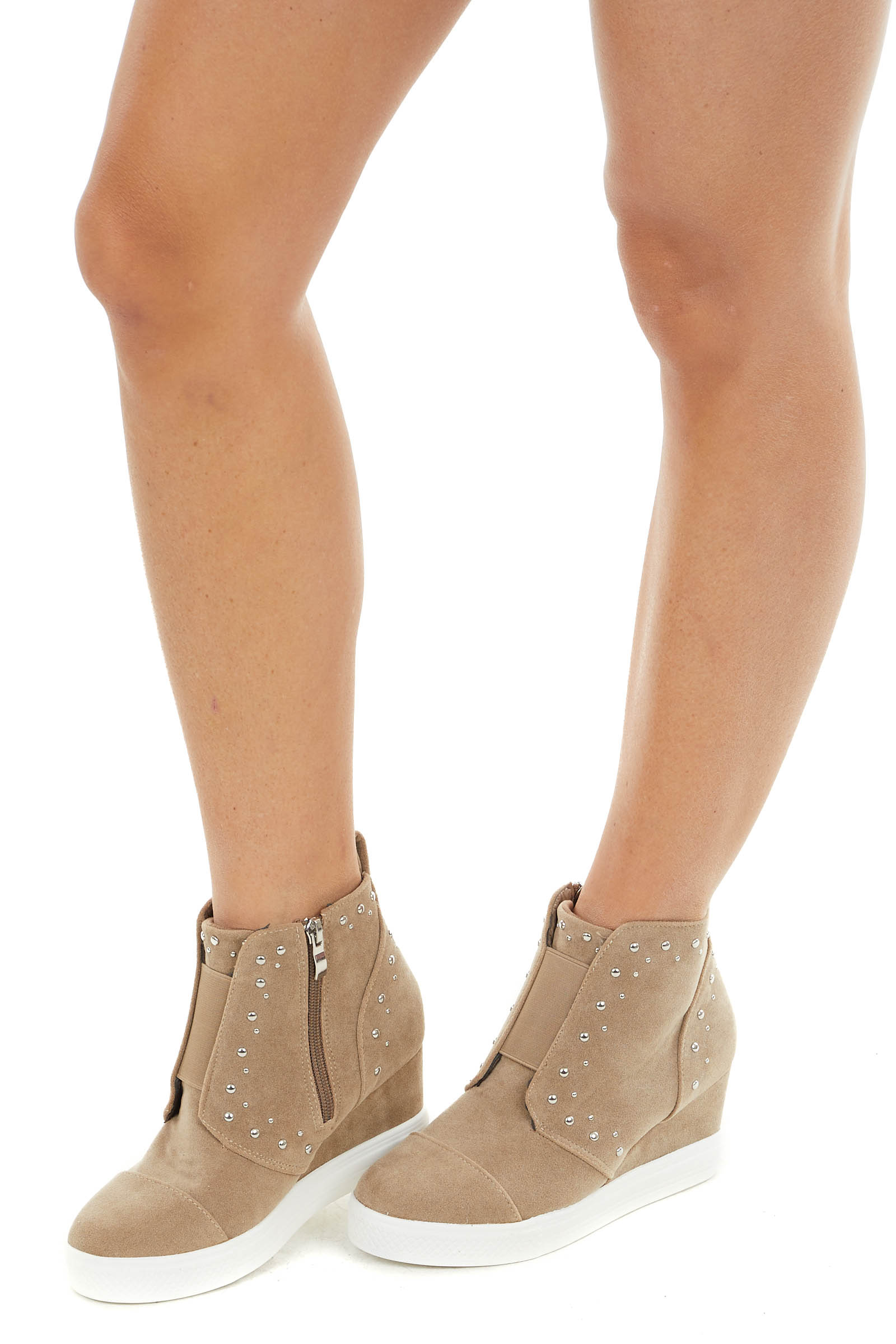 Khaki Faux Suede Wedge Sneakers with Silver Stud Details