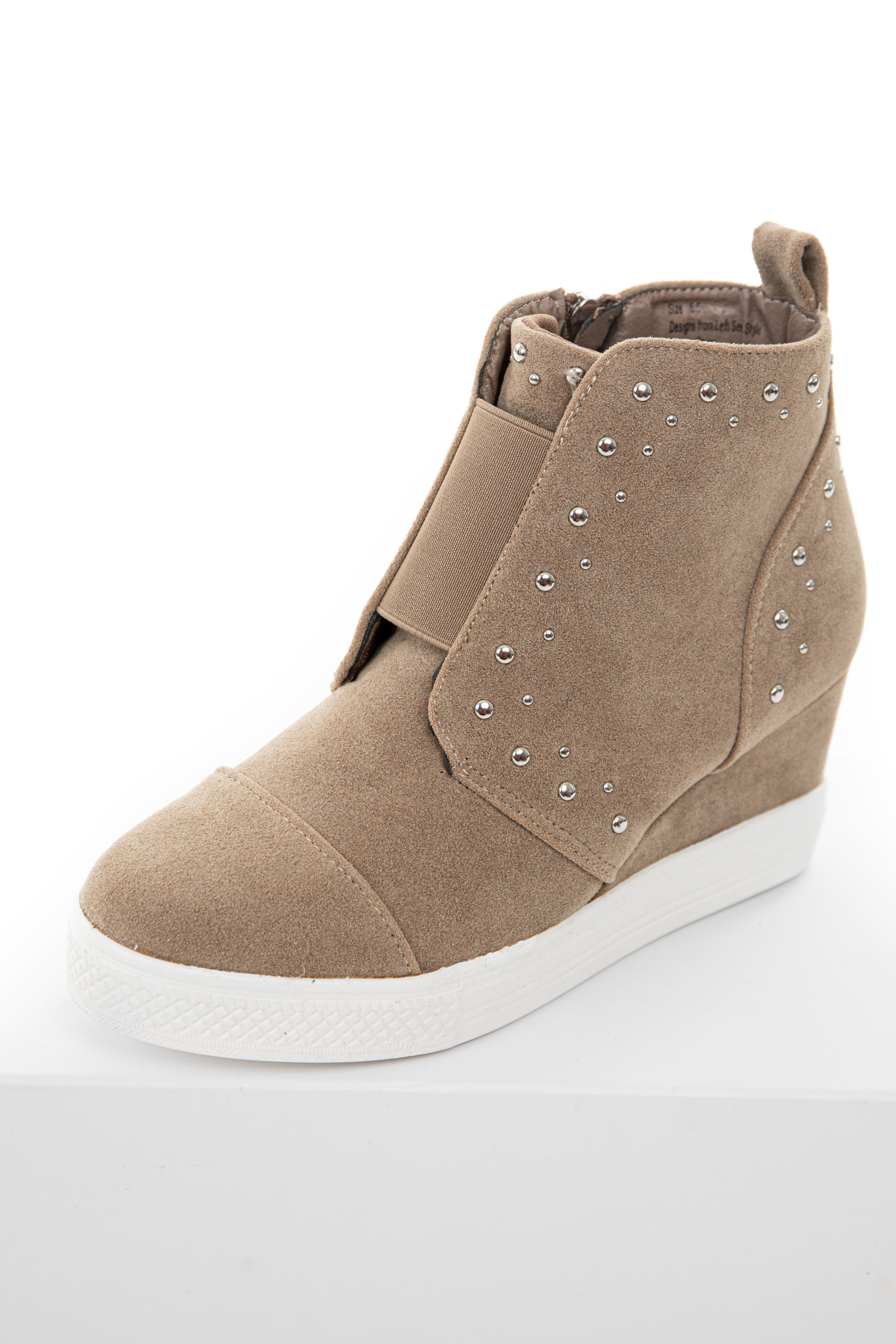 Khaki Faux Suede Wedge Sneakers with
