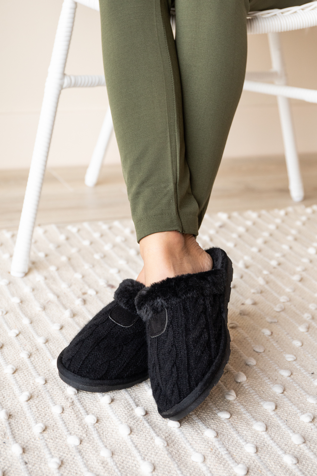 Black Cable Knit Slippers with Faux Fur Lining
