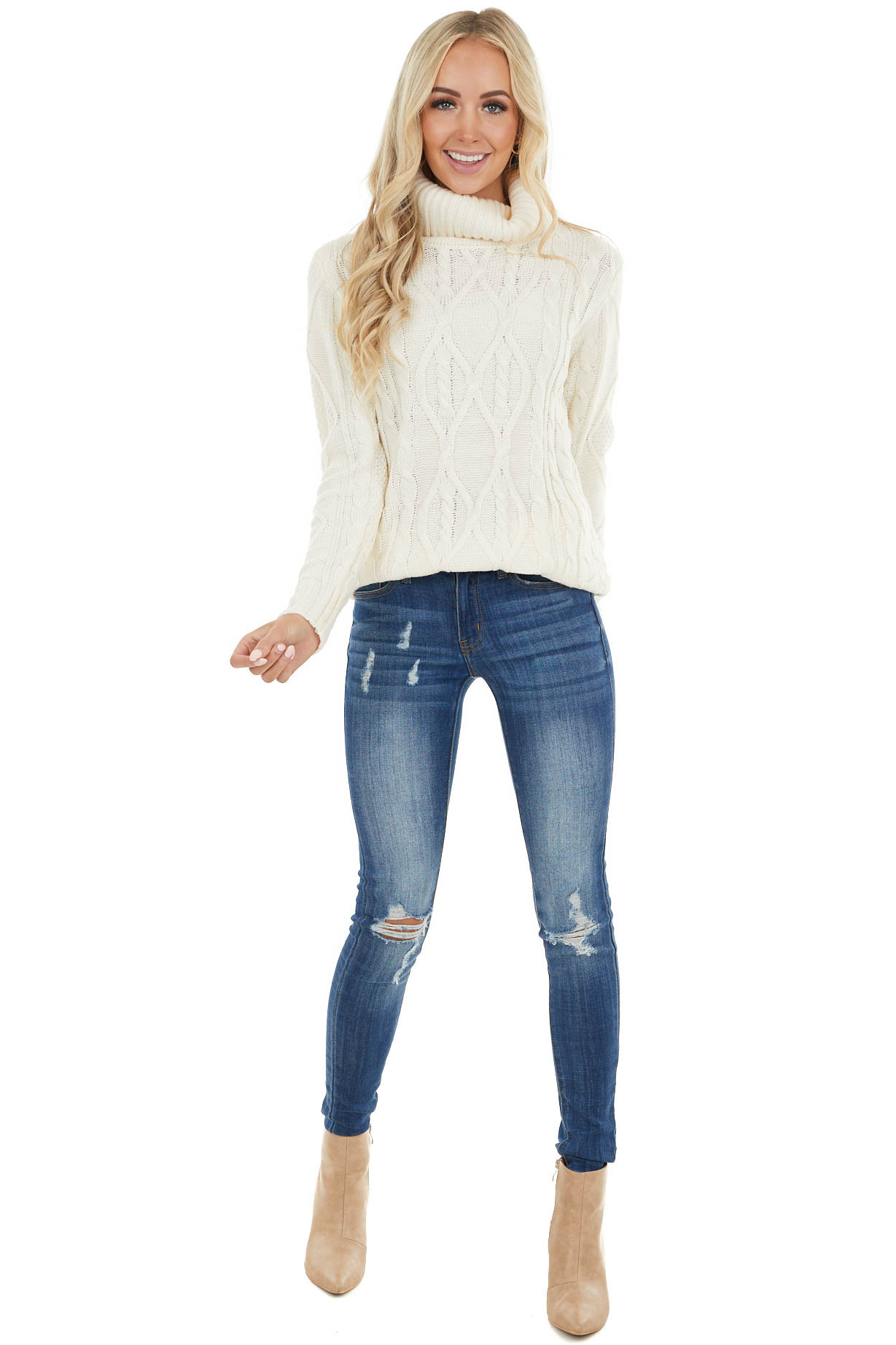 Cream Cable Knit Lightweight Sweater with Ribbed Turtleneck