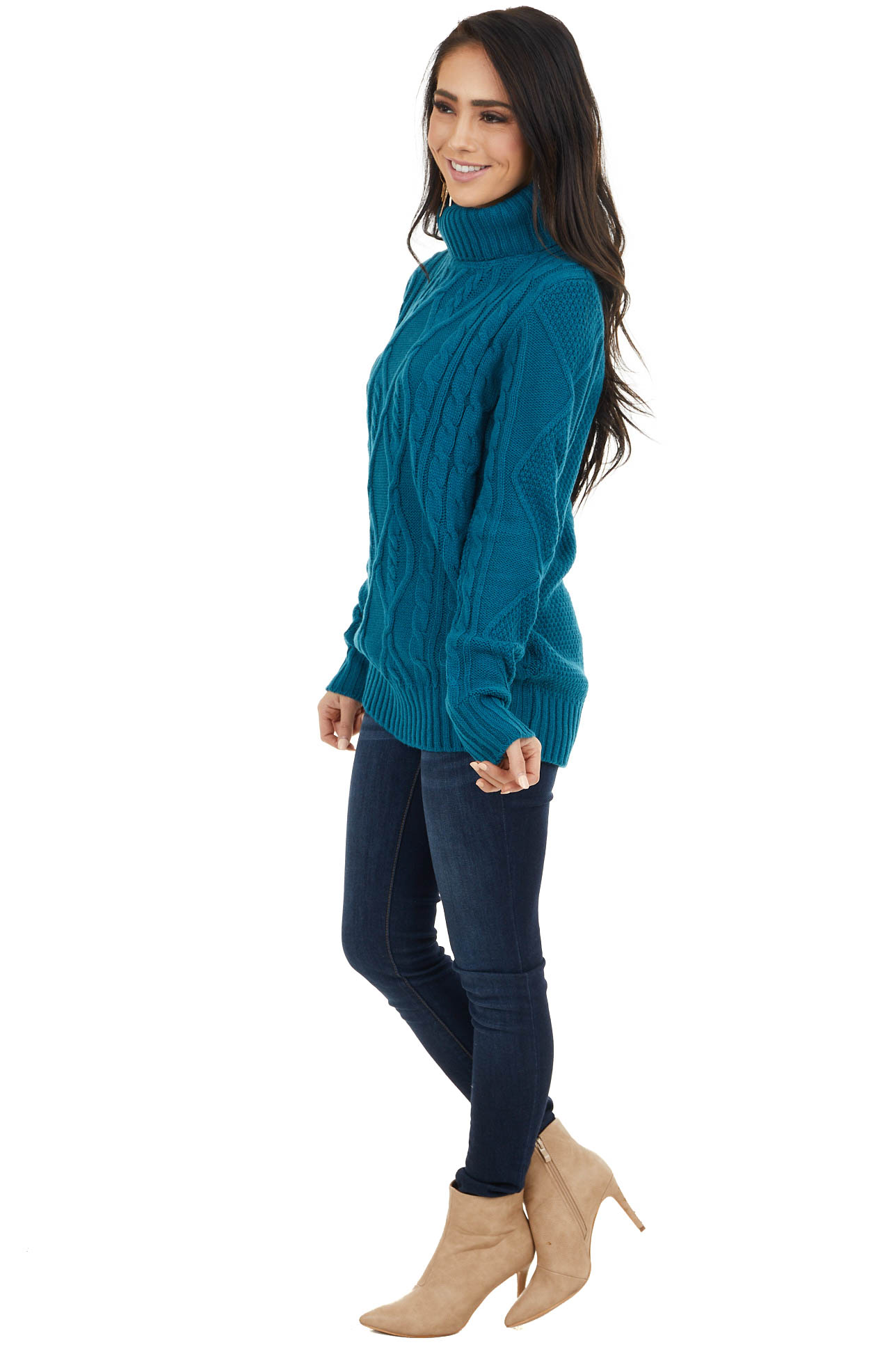 Dark Teal Cable Knit Lightweight Sweater with Turtleneck
