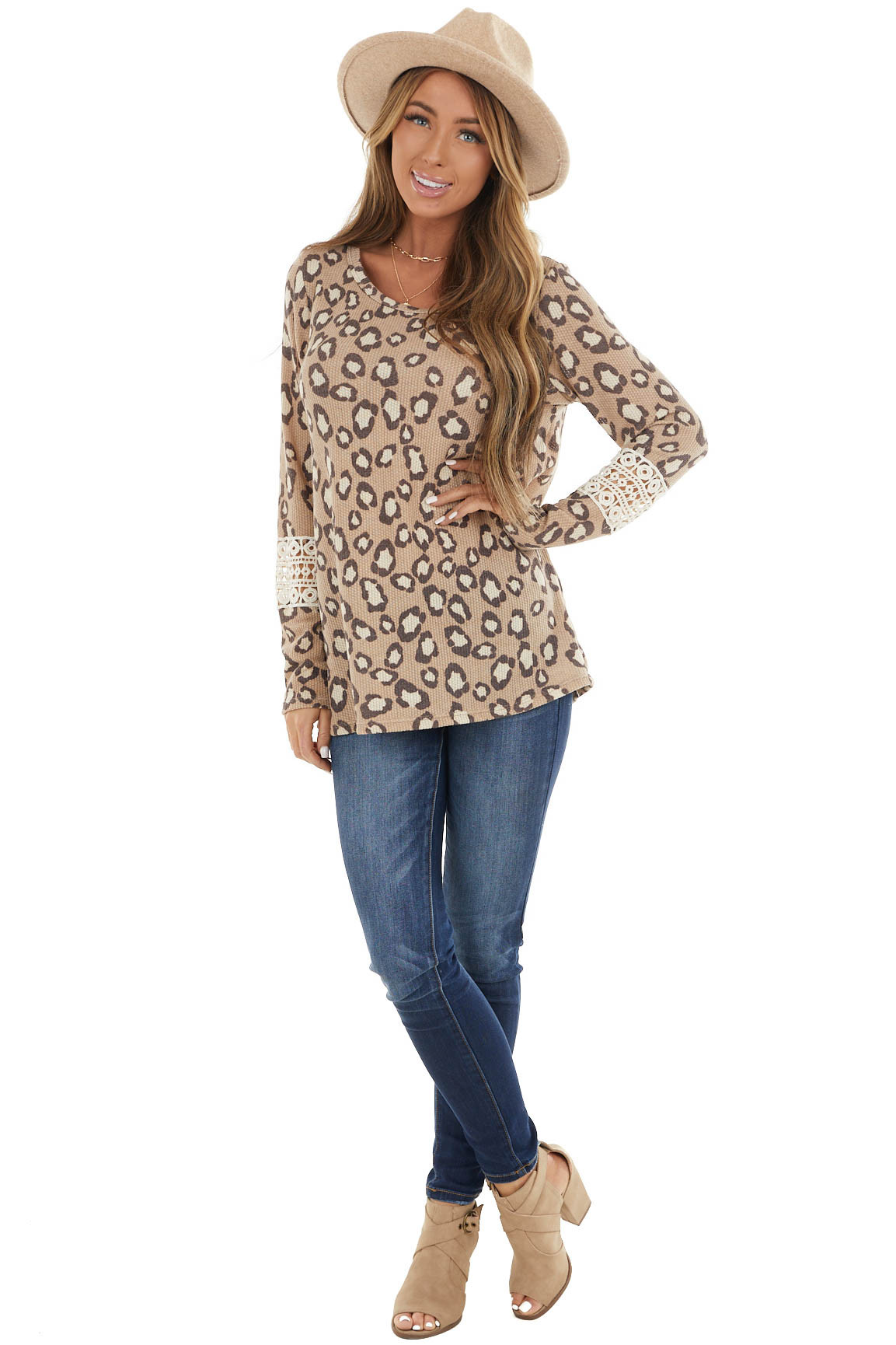 Latte Leopard Print Top with Crochet Lace Detail on Sleeves