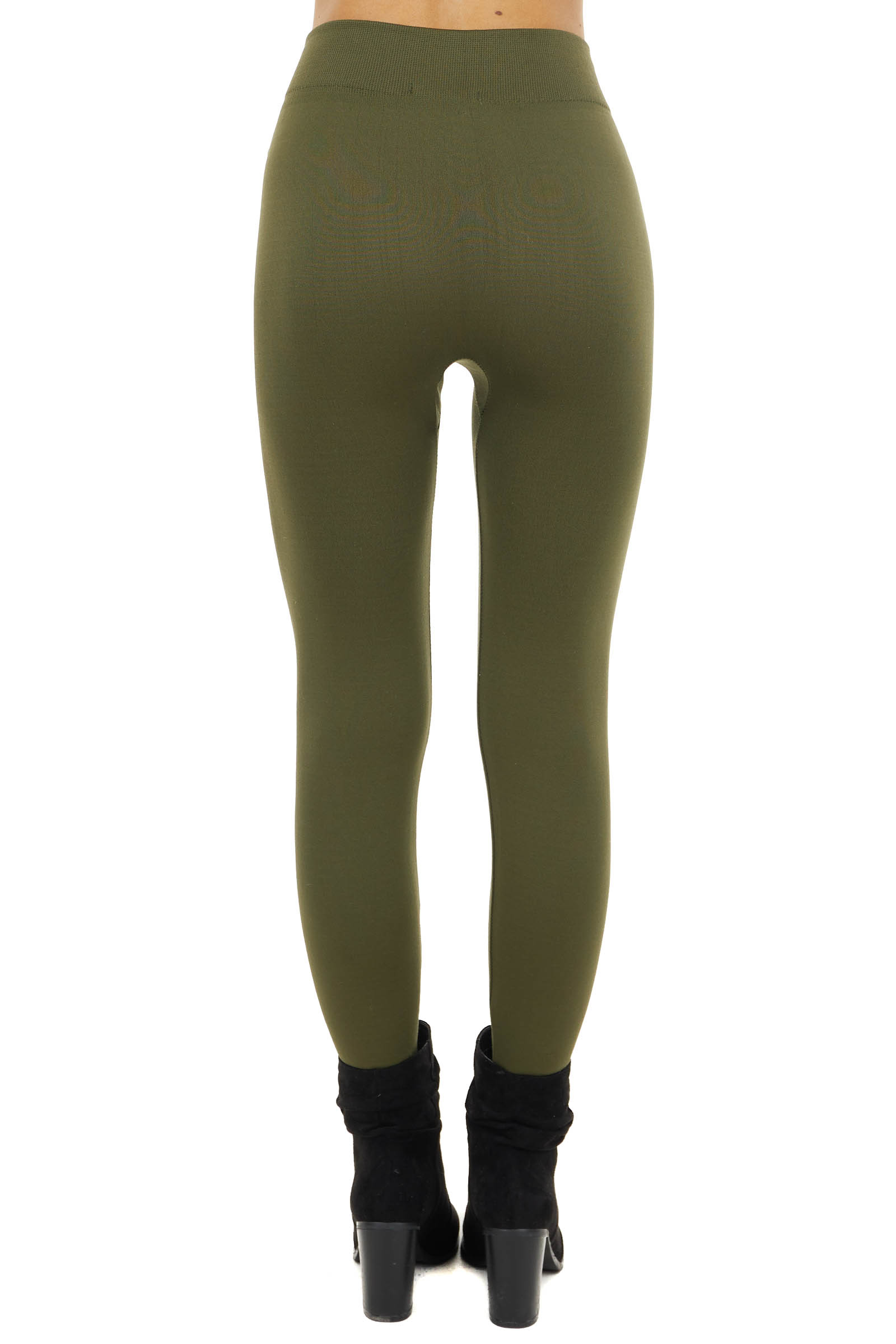 Olive Fleece Lined Knit Leggings with Elastic Waist