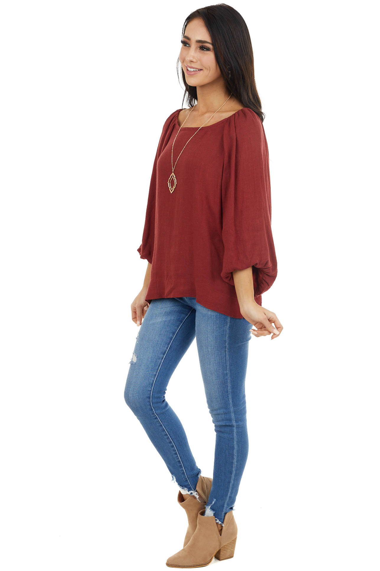 Burgundy Peasant Style Long Bubble Sleeve Top