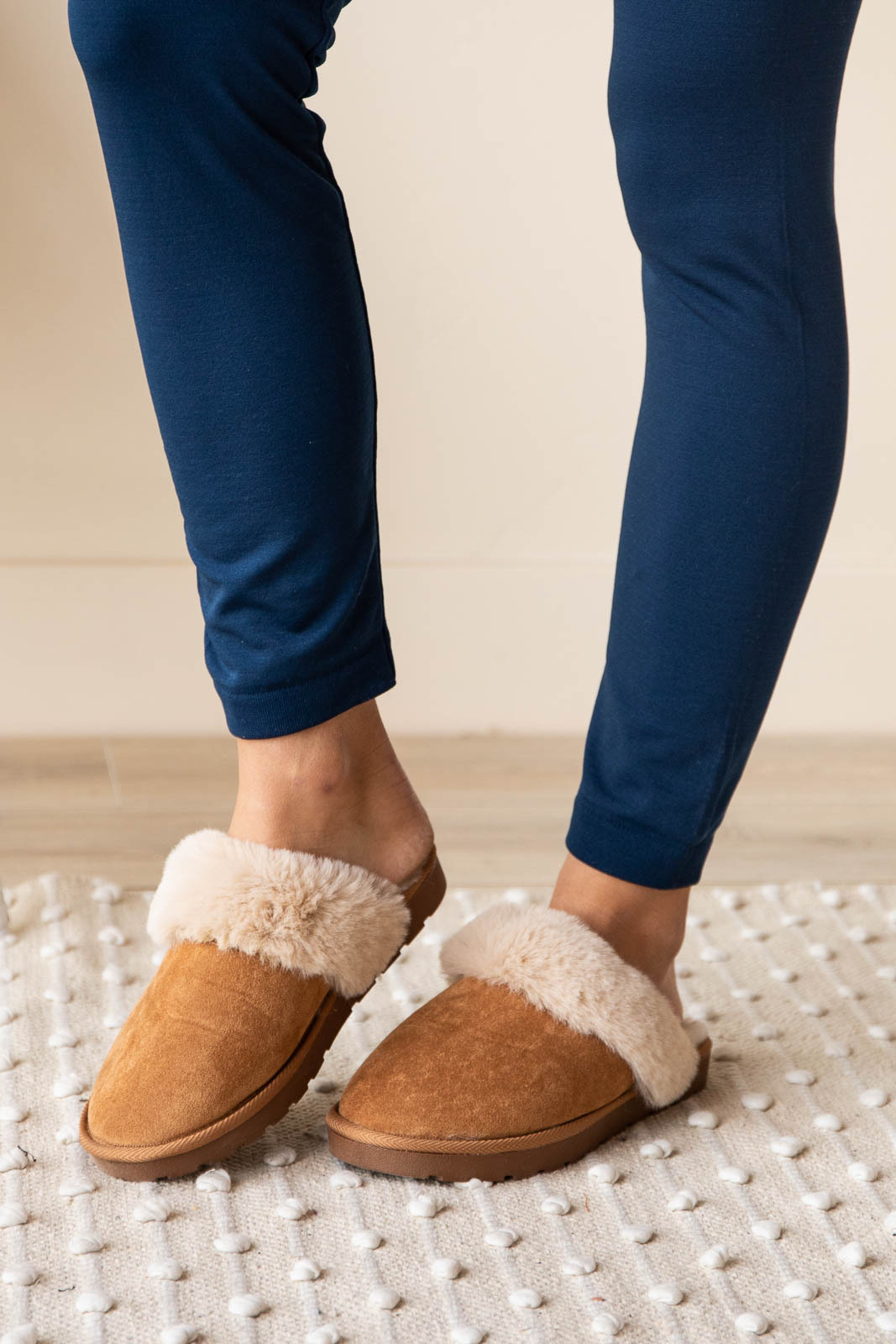 Camel Faux Suede Slippers with Cream Faux Fur Lining