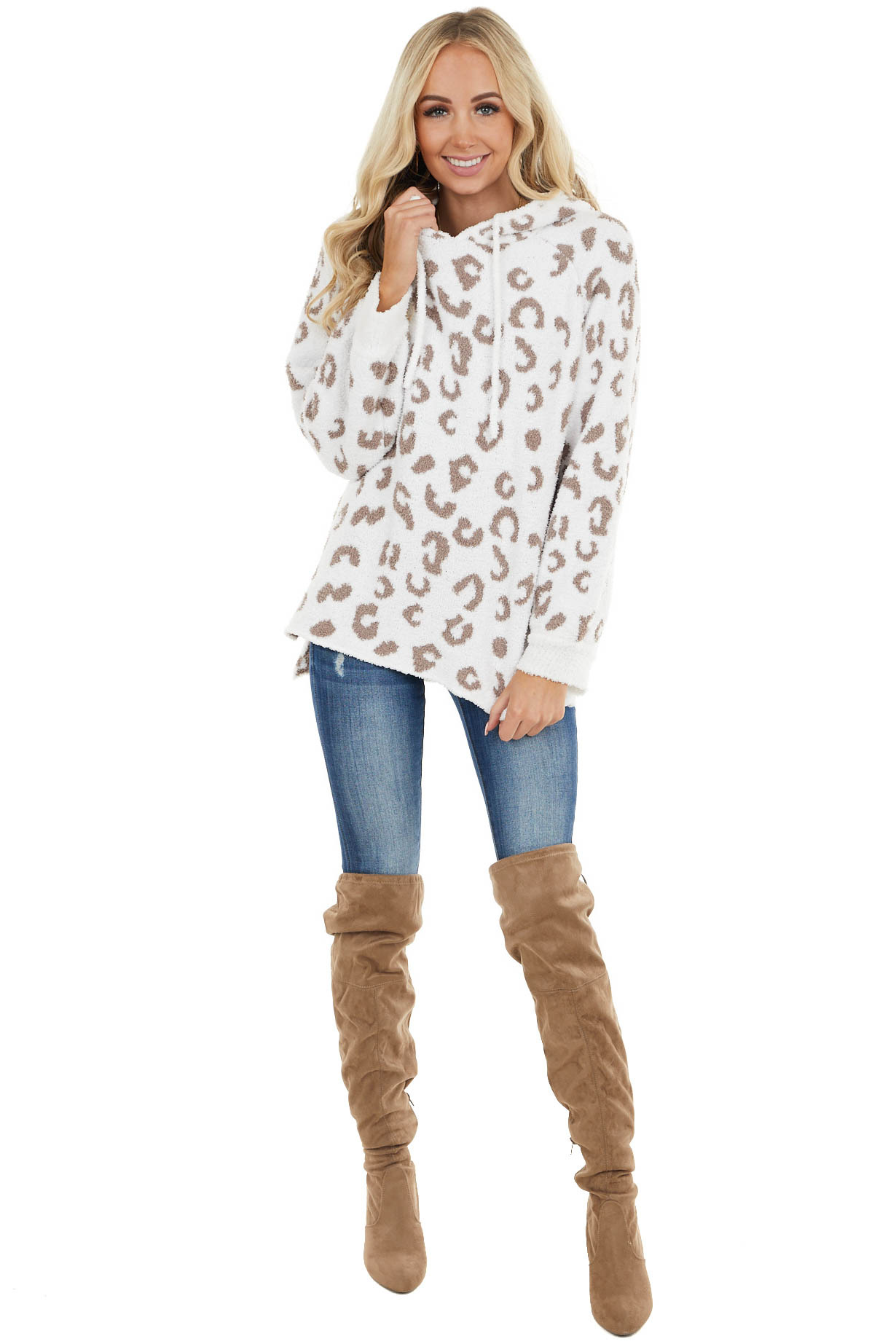 Off White and Taupe Leopard Print Super Soft Fuzzy Hoodie