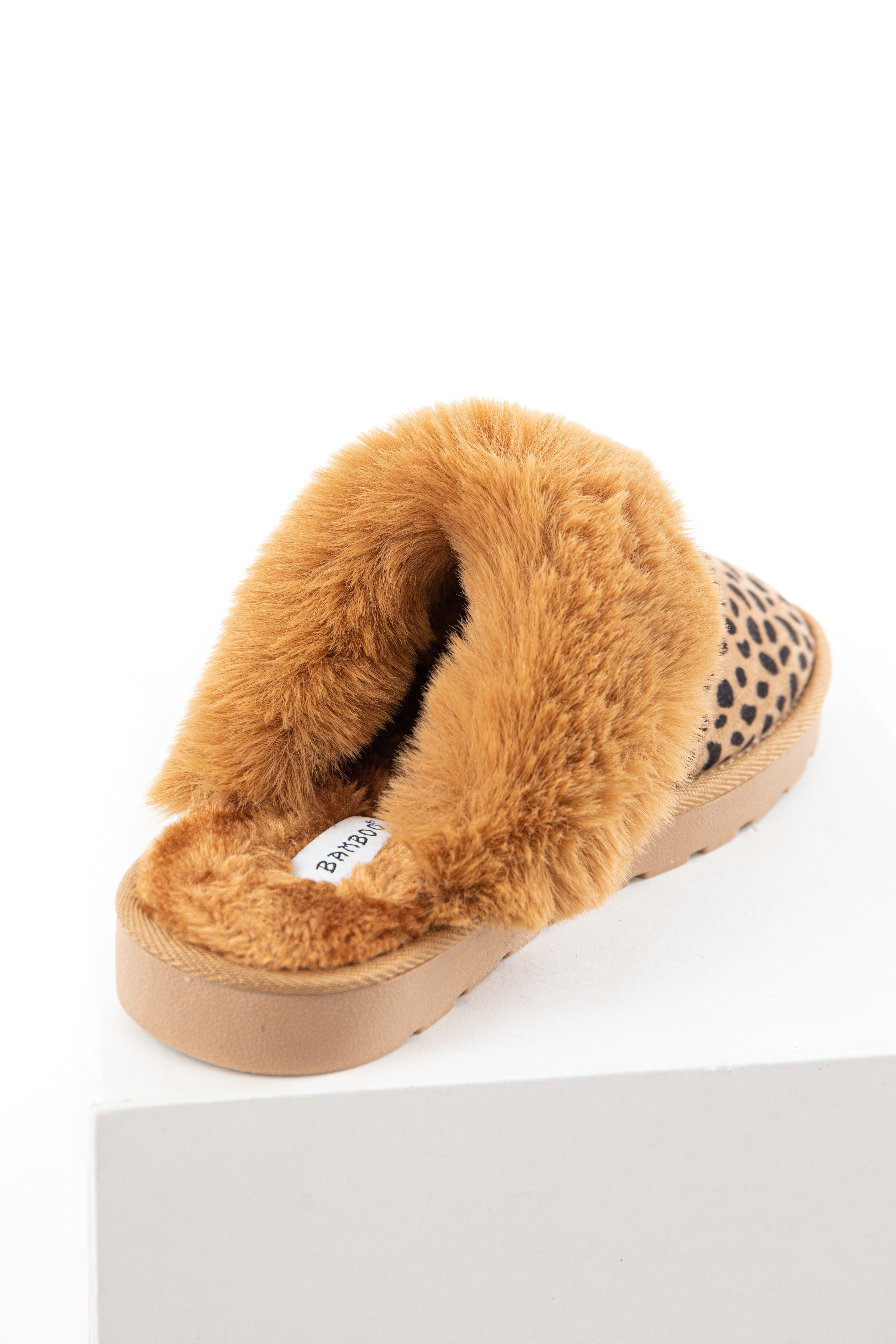 Beige Cheetah Print Faux Suede Slippers with Faux Fur Lining