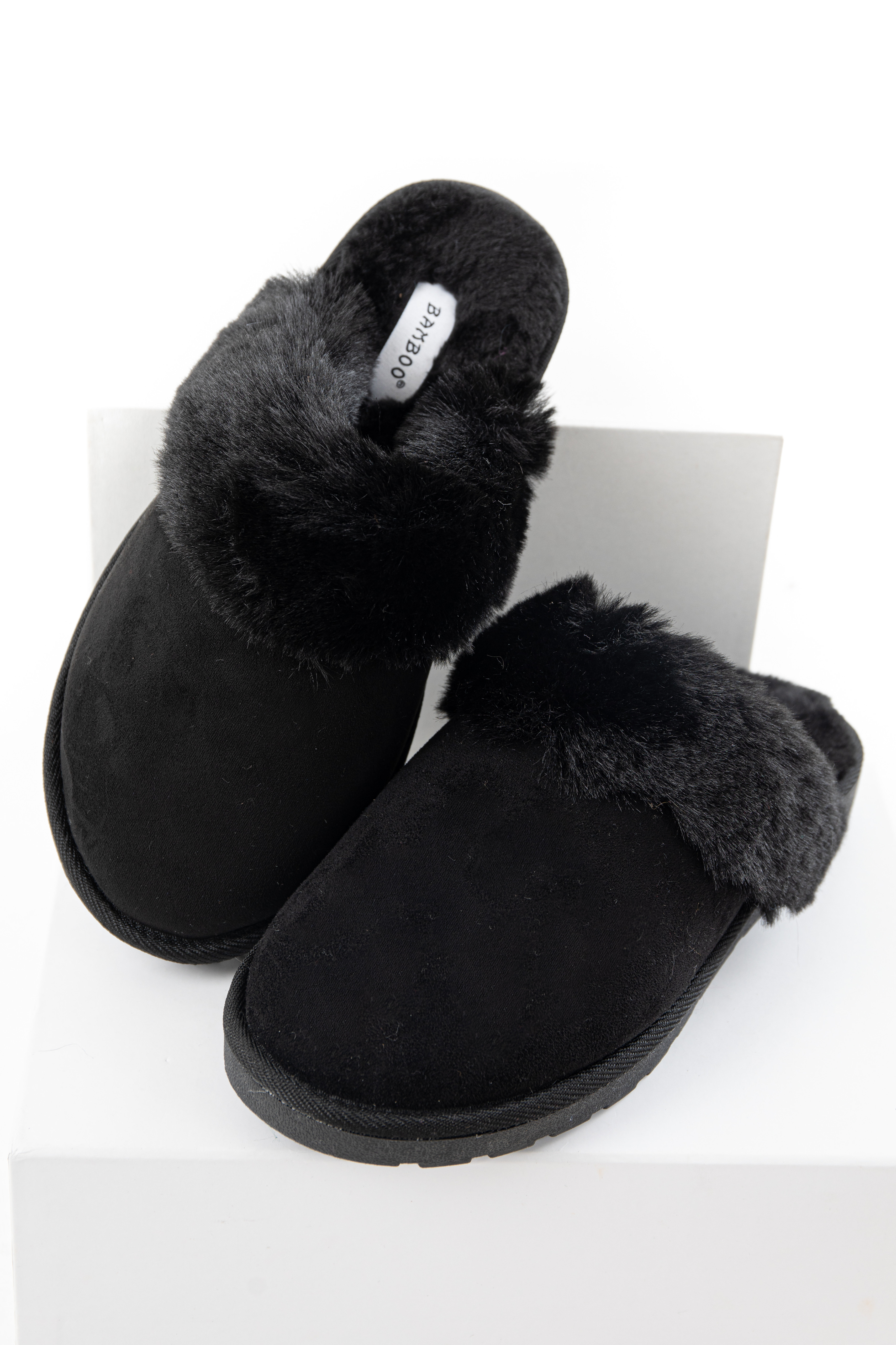 Black Faux Suede Slippers with Faux Fur Lining