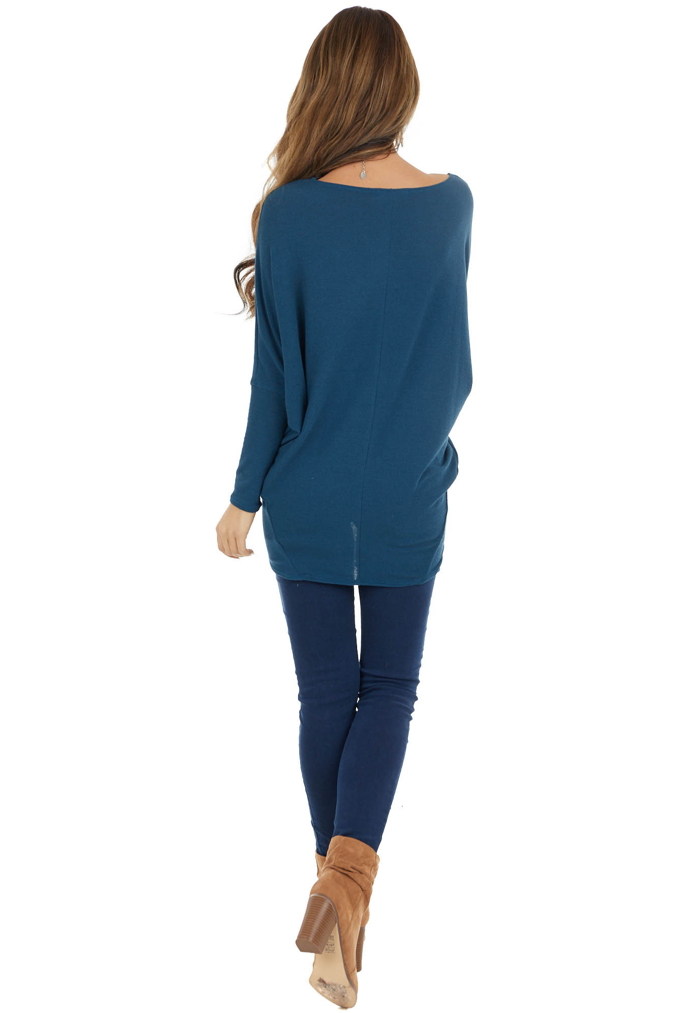 Teal Round Neck Knit Top with Long Dolman Sleeves
