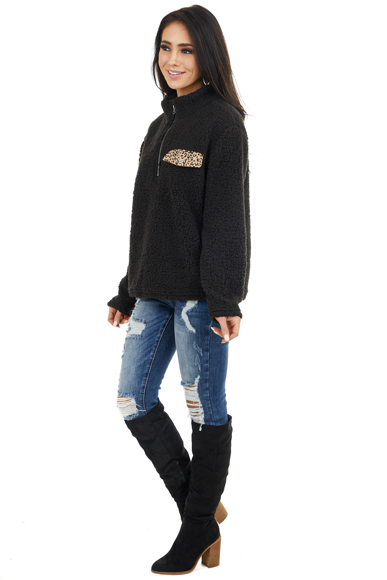 Black Long Sleeve Jacket with Leopard Print Faux Pocket side