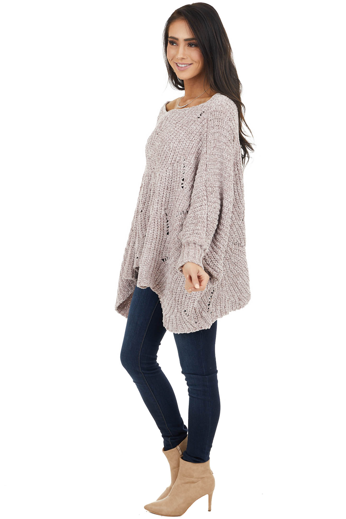 Dusty Rose Chenille Knit Sweater with Long Dolman Sleeves