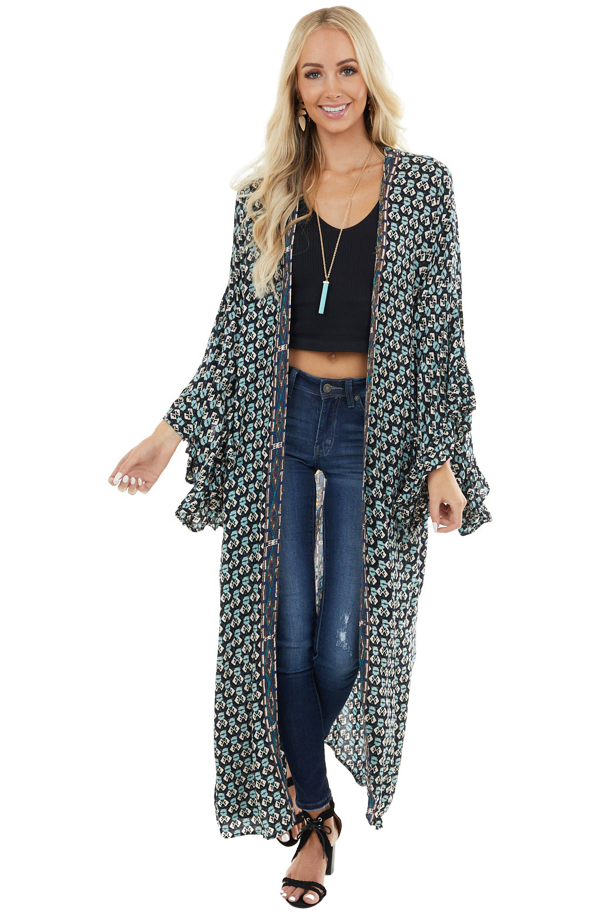 Teal Multicolor Abstract Print Kimono with Ruffle Sleeves
