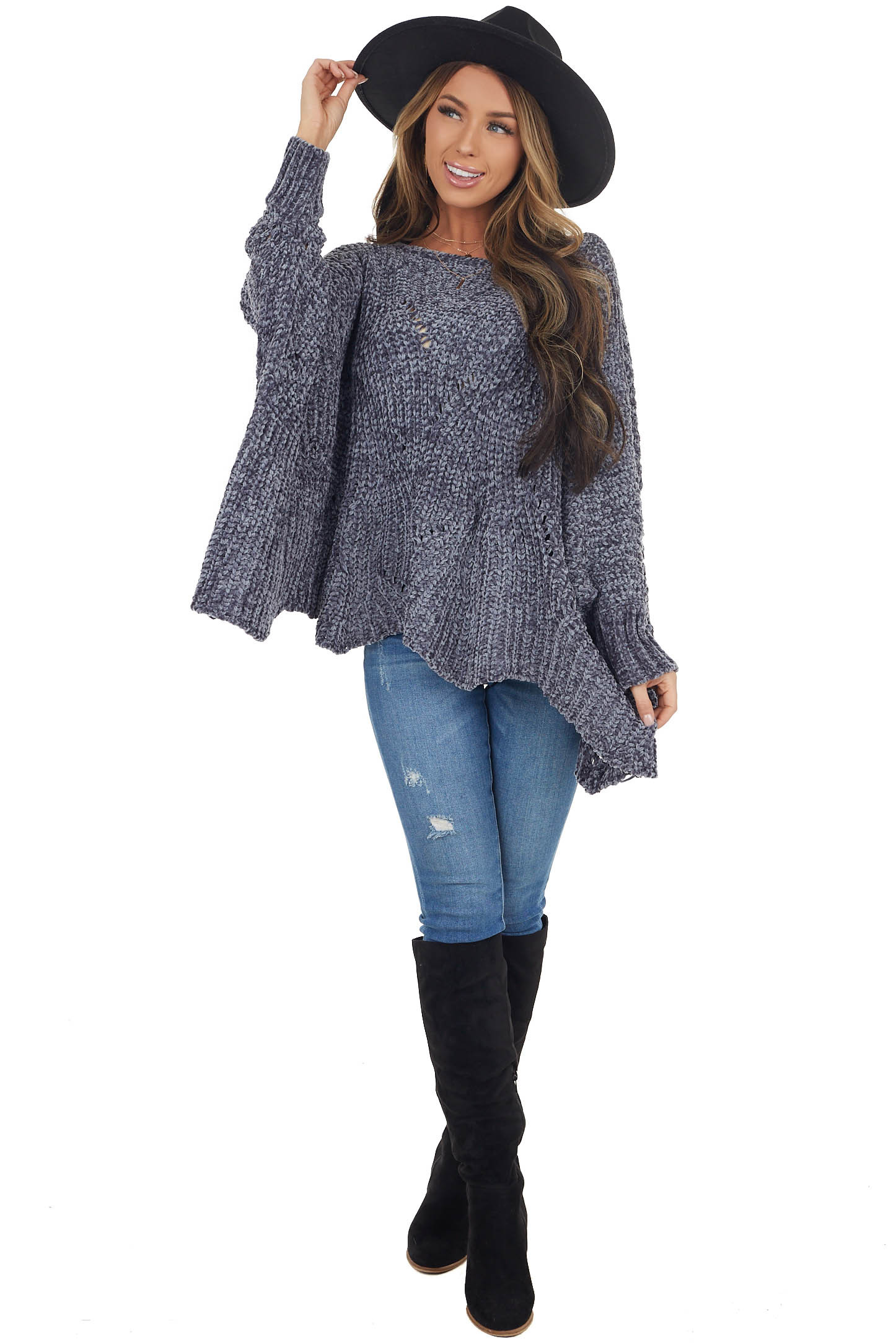 Slate Blue Chenille Knit Sweater with Long Dolman Sleeves