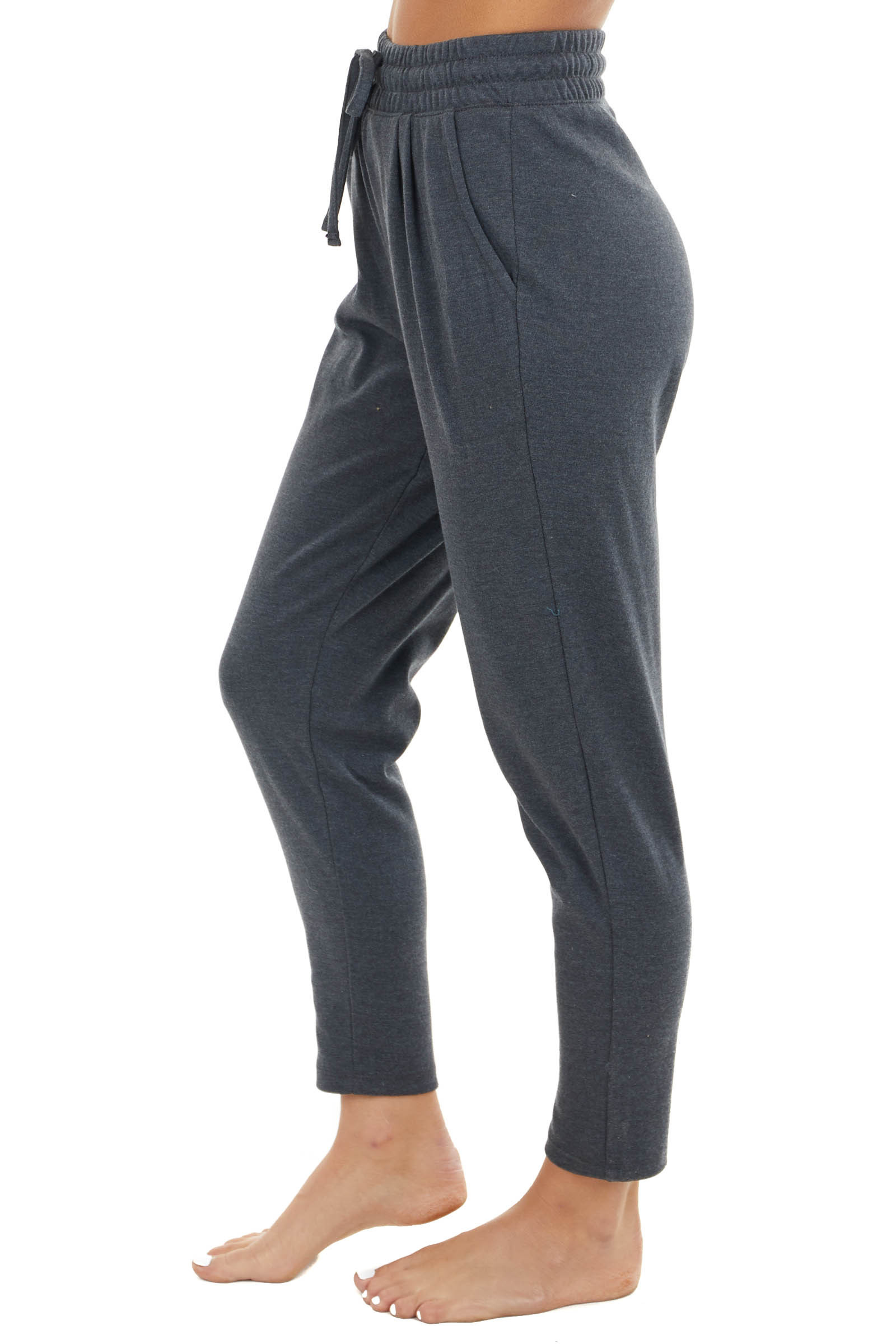 Charcoal Knit Sweatpants with Drawstring Waist and Pockets