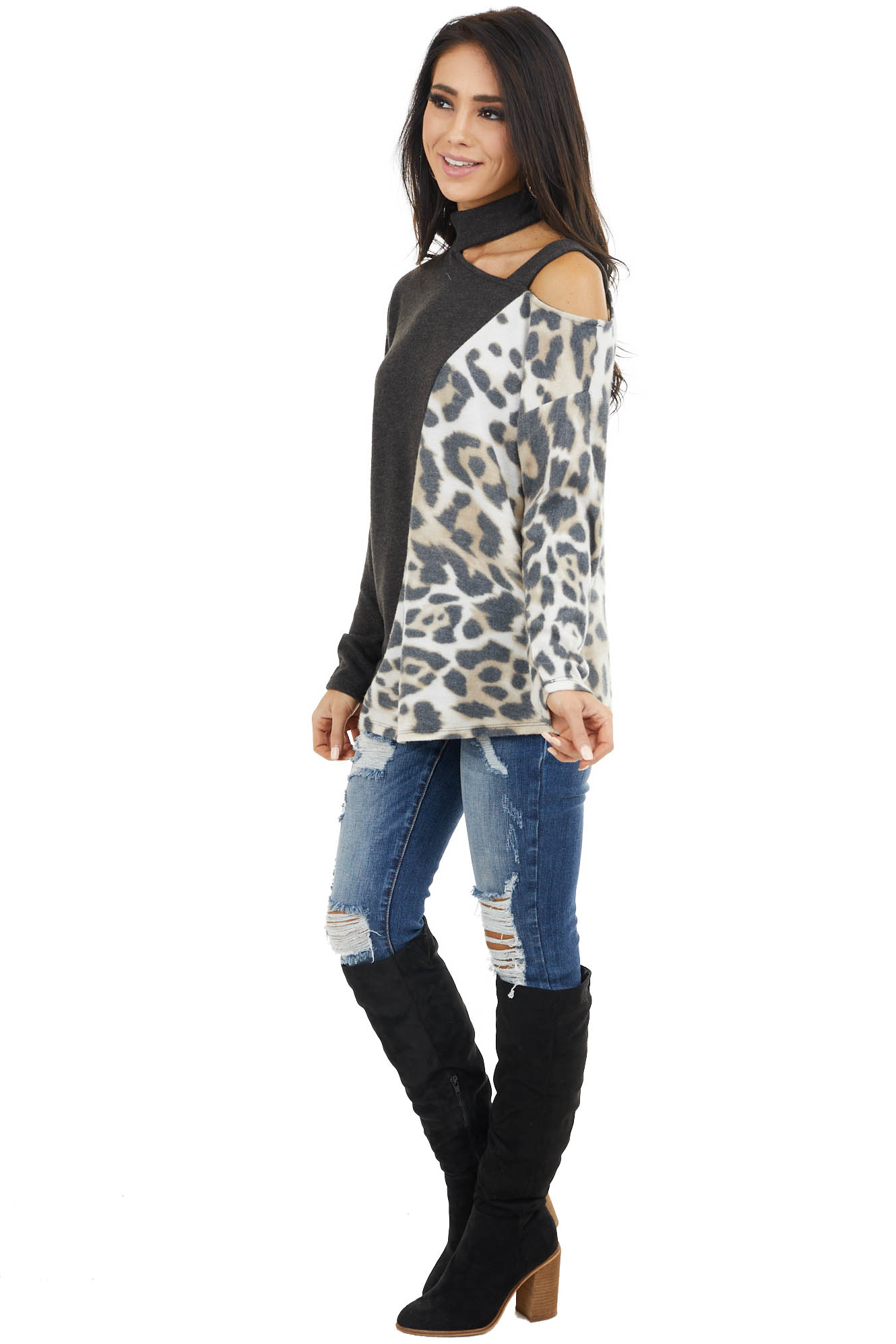 Charcoal Leopard Print Long Sleeve Top with Cold Shoulder