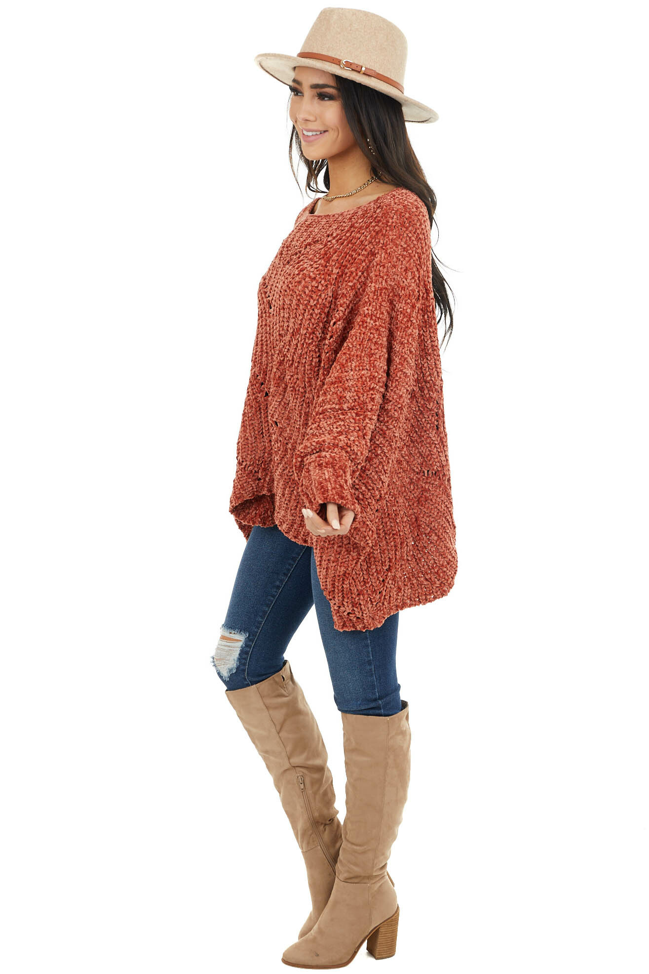 Terracotta Chenille Knit Sweater with Long Dolman Sleeves
