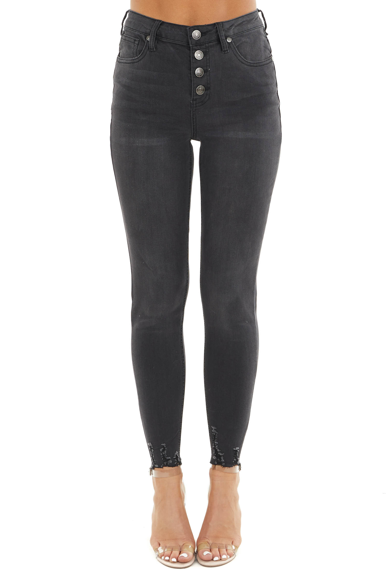 Black High Rise Button Up Skinny Jeans with Distressing