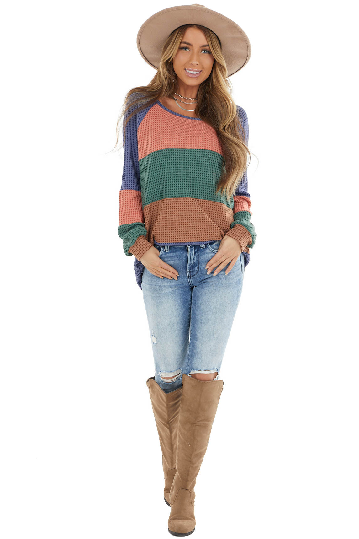 Multicolor Colorblock Waffle Knit Top with Long Sleeves