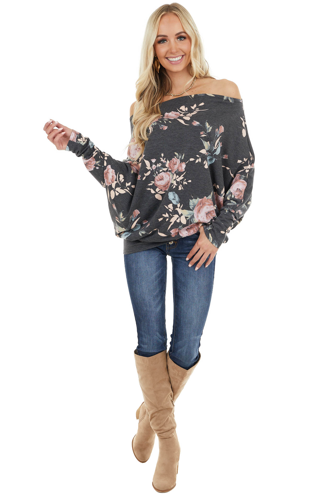 Charcoal Floral Print Long Sleeve Top with Drop Shoulder