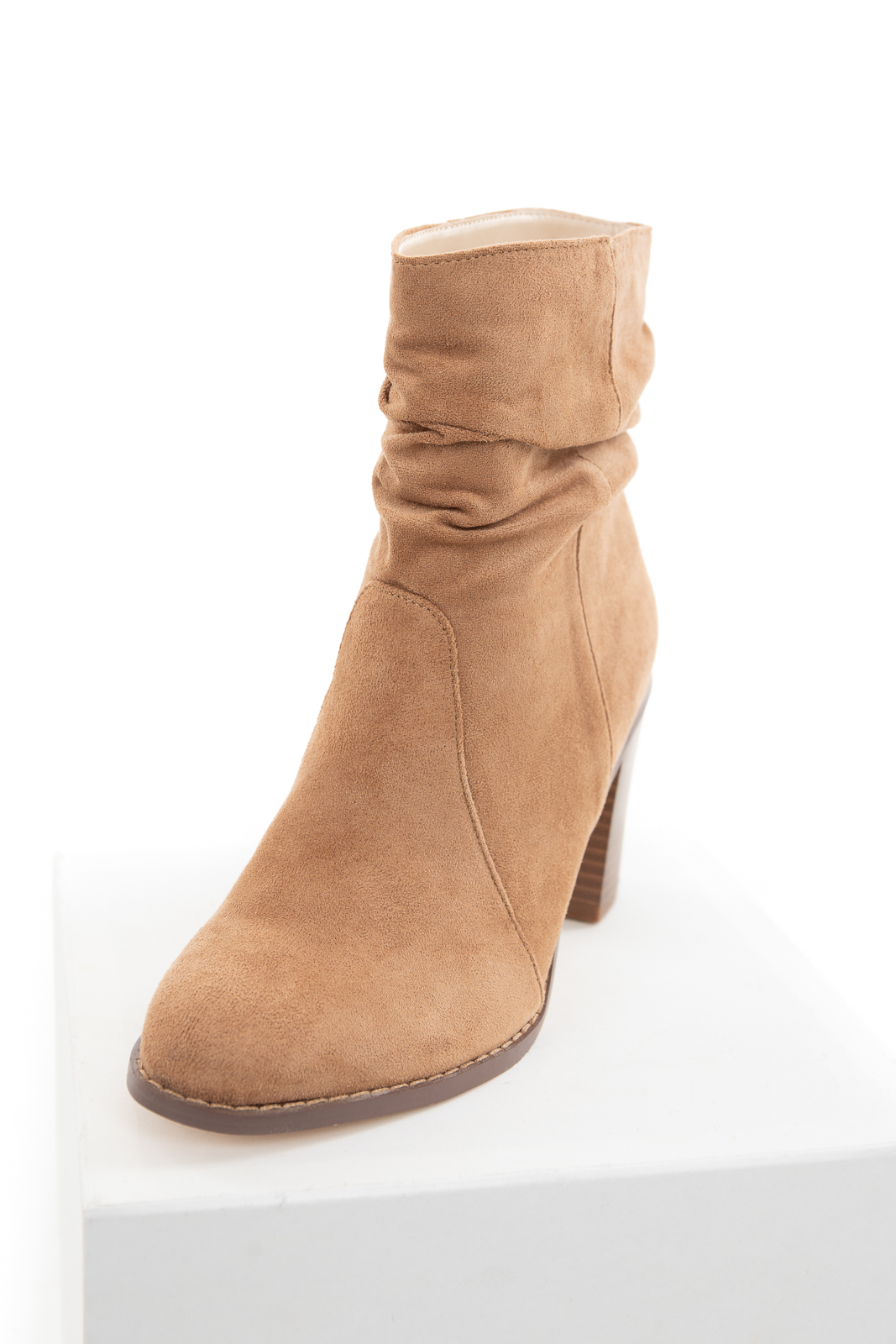 Camel Faux Suede High Heel Bootie with Gathered Detail