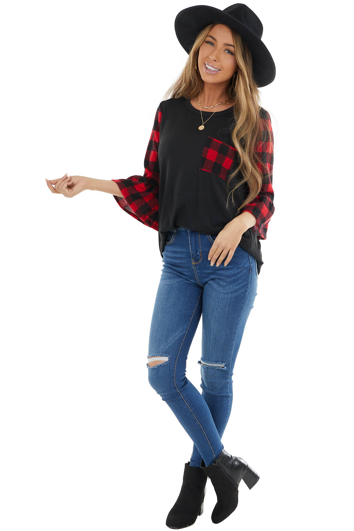 Black Top with Buffalo Plaid Contrast Sleeves and Pocket