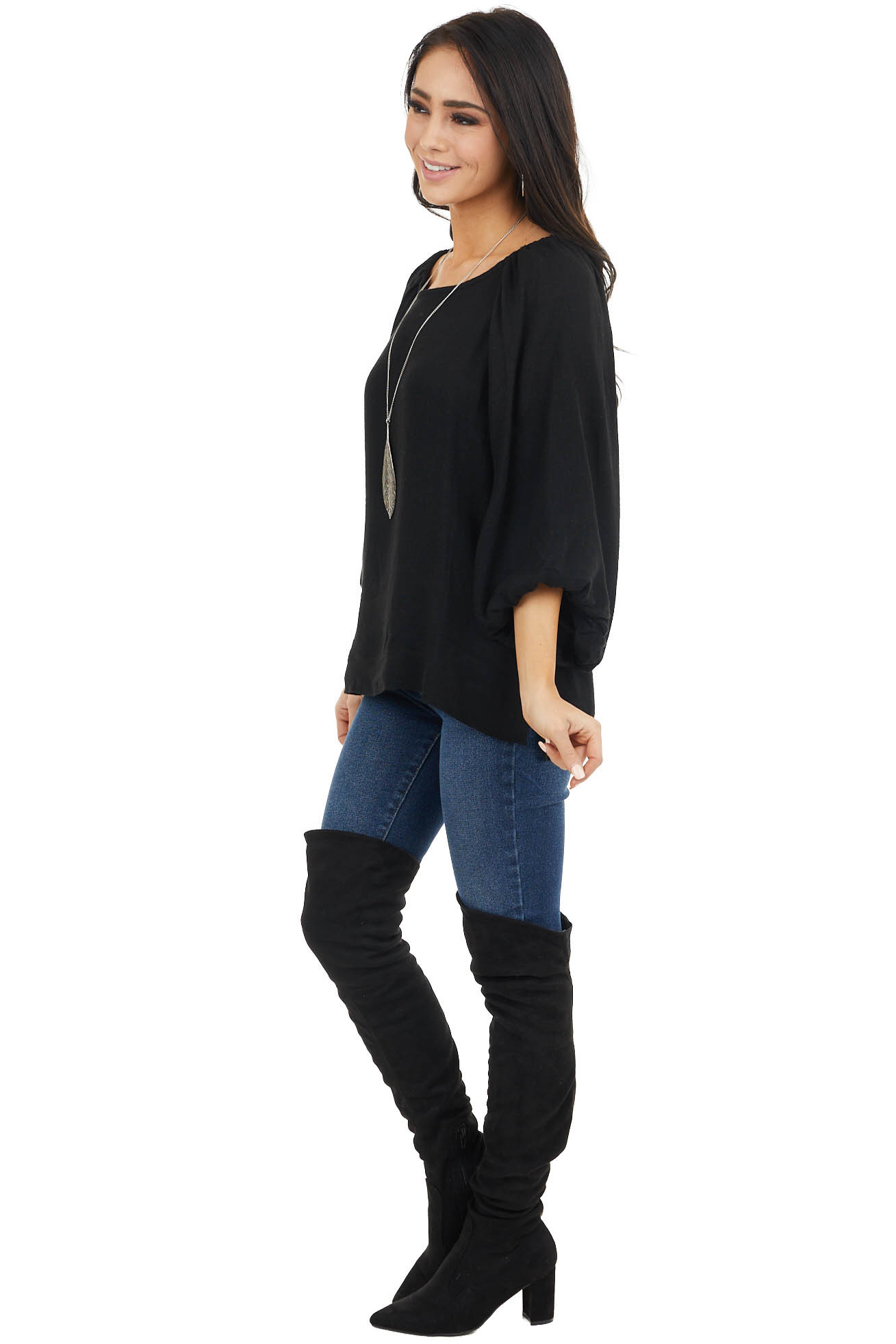 Black Peasant Style Long Bubble Sleeve Top