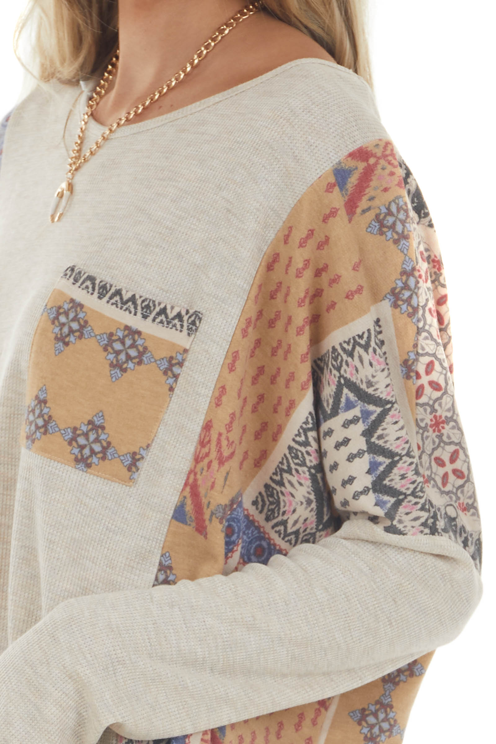 Oatmeal Top with Contrast Patchwork Detail and Pocket