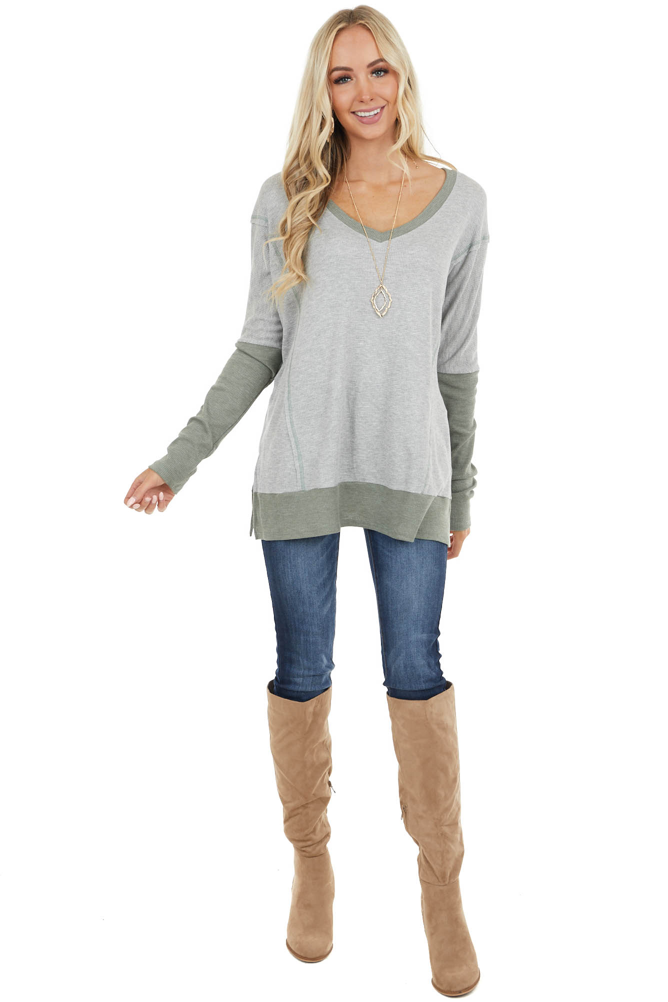 Dove Grey and Sage Contrast Waffle Knit V Neck Top