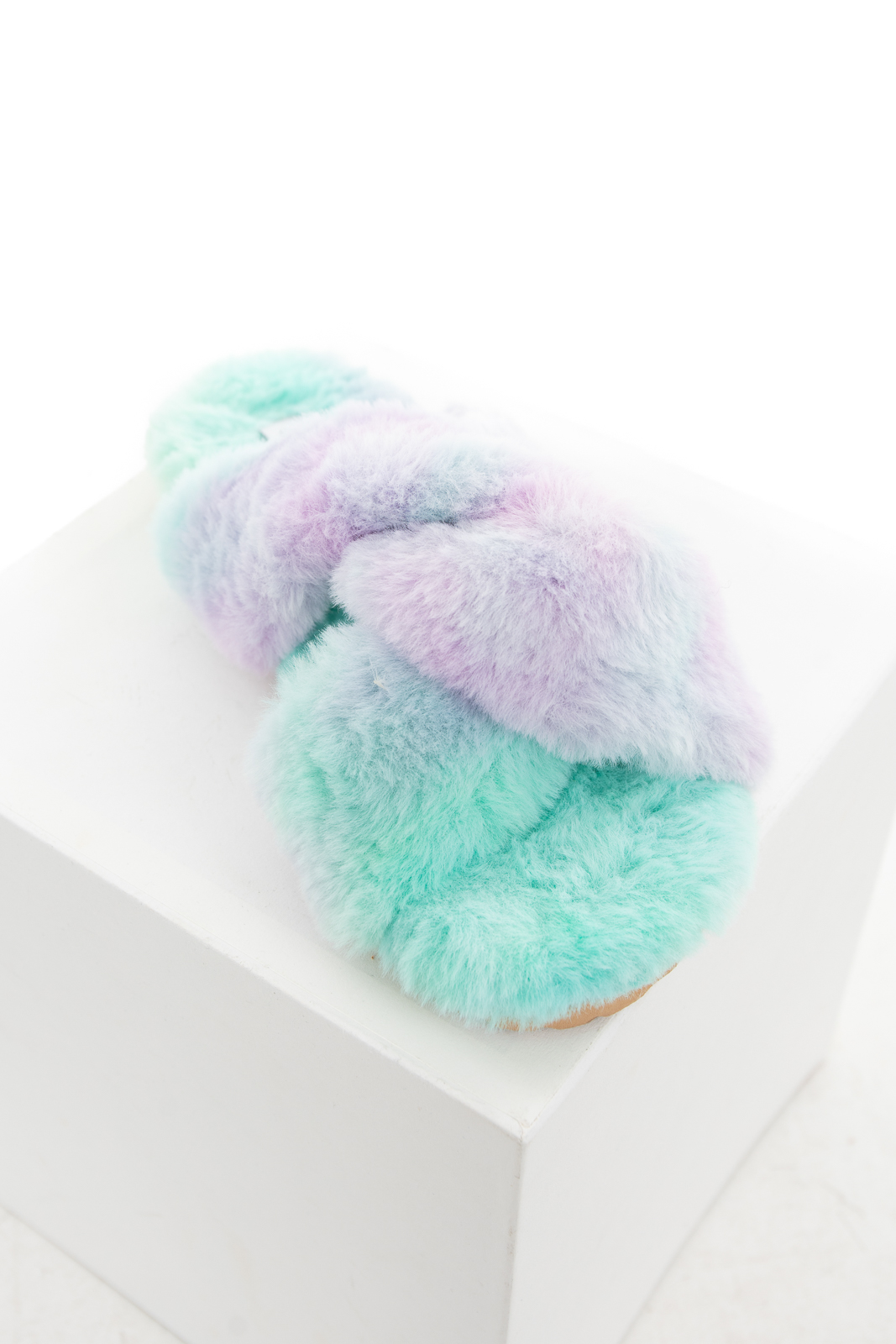 Aqua and Lavender Tie Dye Print Fuzzy Soft Sandal Slippers