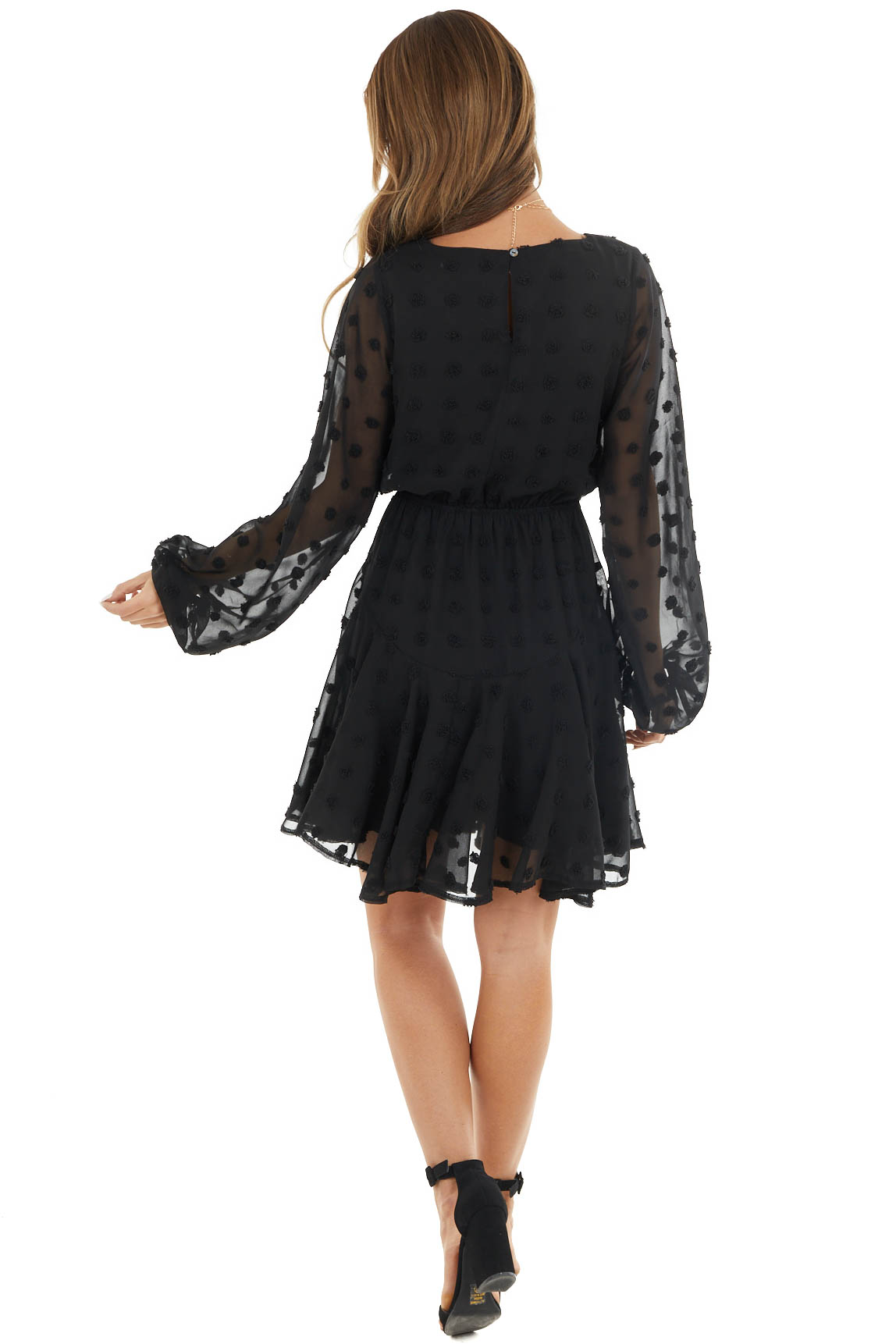 Black Swiss Dot Long Sleeve Dress with Waist Tie Detail