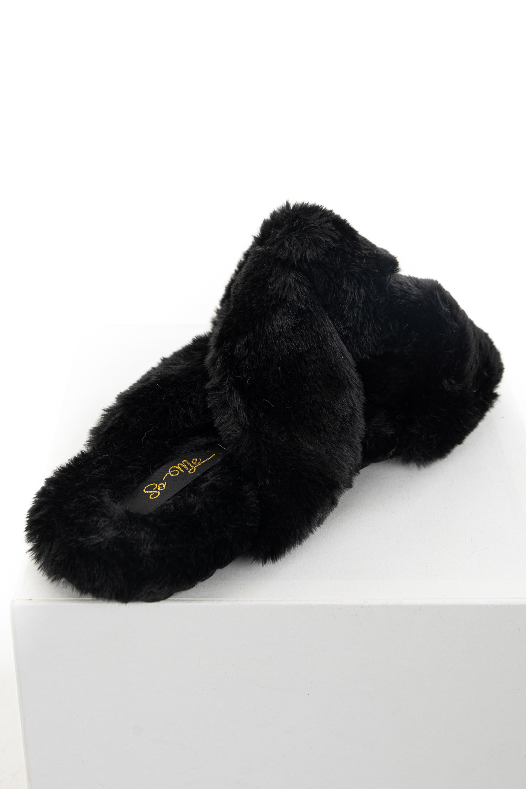 Black Fuzzy Soft Sandal Slippers with Criss Cross Details