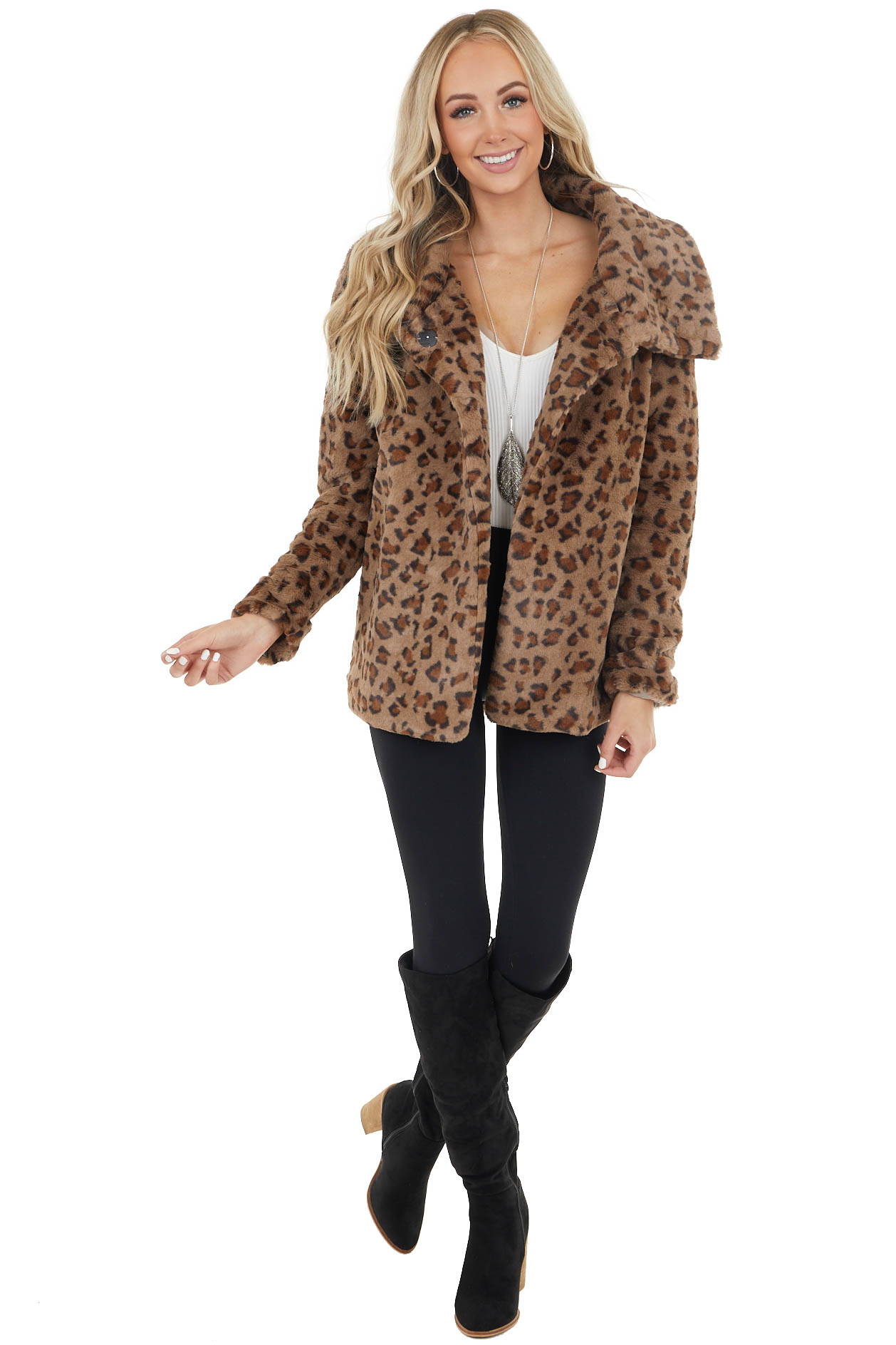 Cocoa Leopard Print Faux Fur Open Jacket with Snap Button