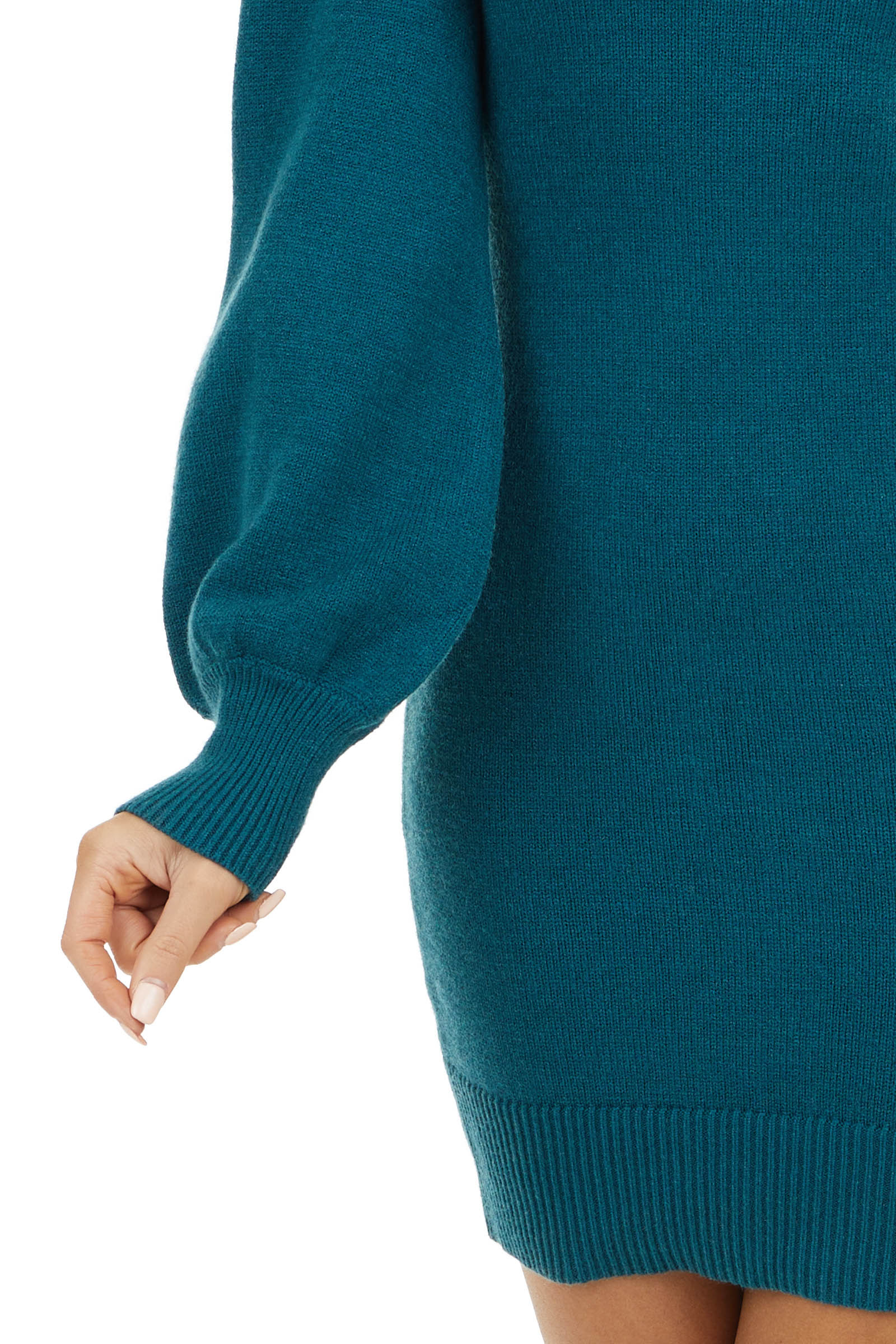 Pine Mock Neck Sweater Dress with Long Bubble Sleeves