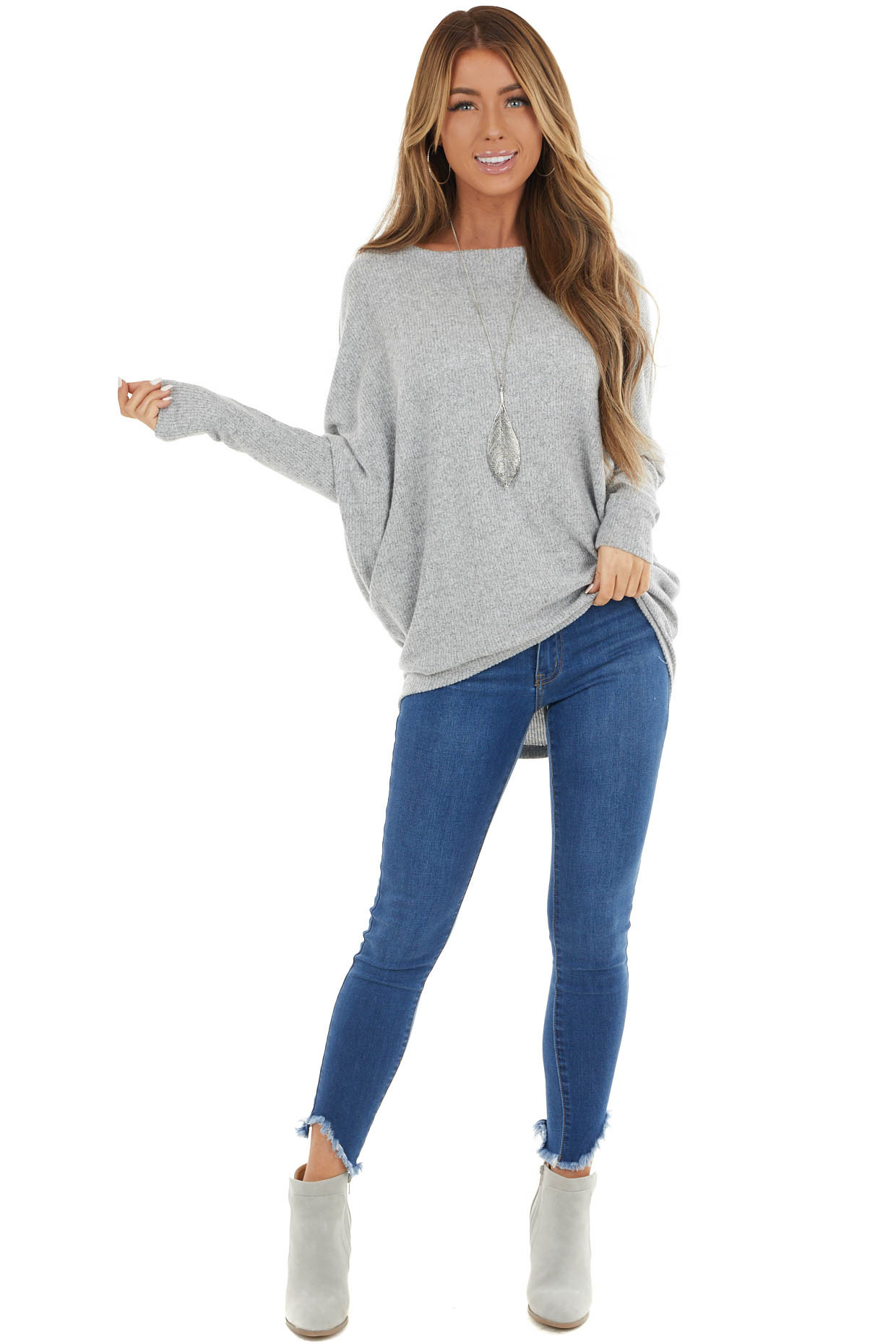 Dove Grey Ribbed Knit Top with Long Dolman Sleeves