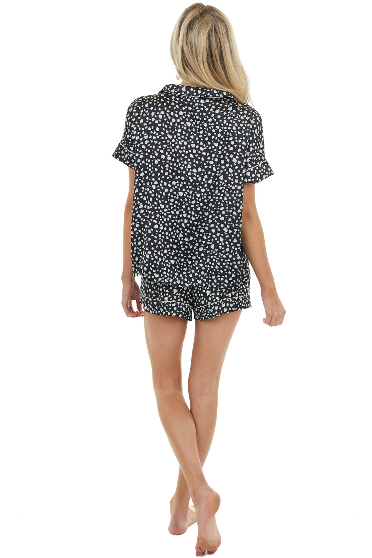 Black Printed Satin Short Sleeve Top and Shorts Set