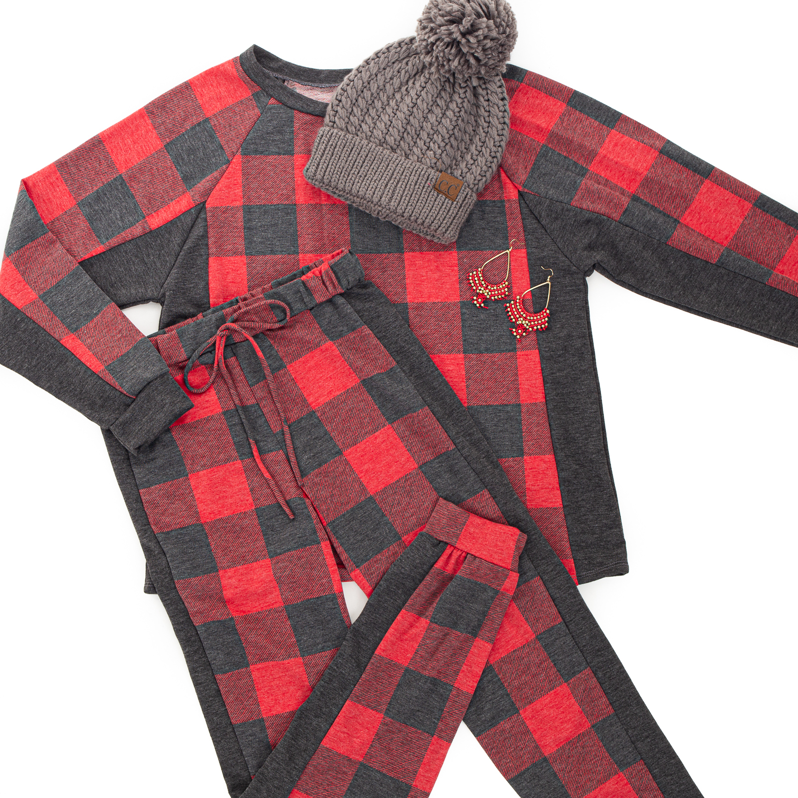 Vintage Red Buffalo Plaid Top and Bottom Set