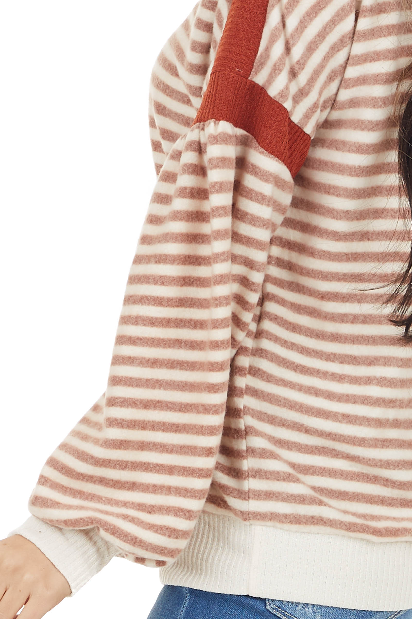 Rust and Cream Striped Fleece Knit Top with Bubble Sleeves