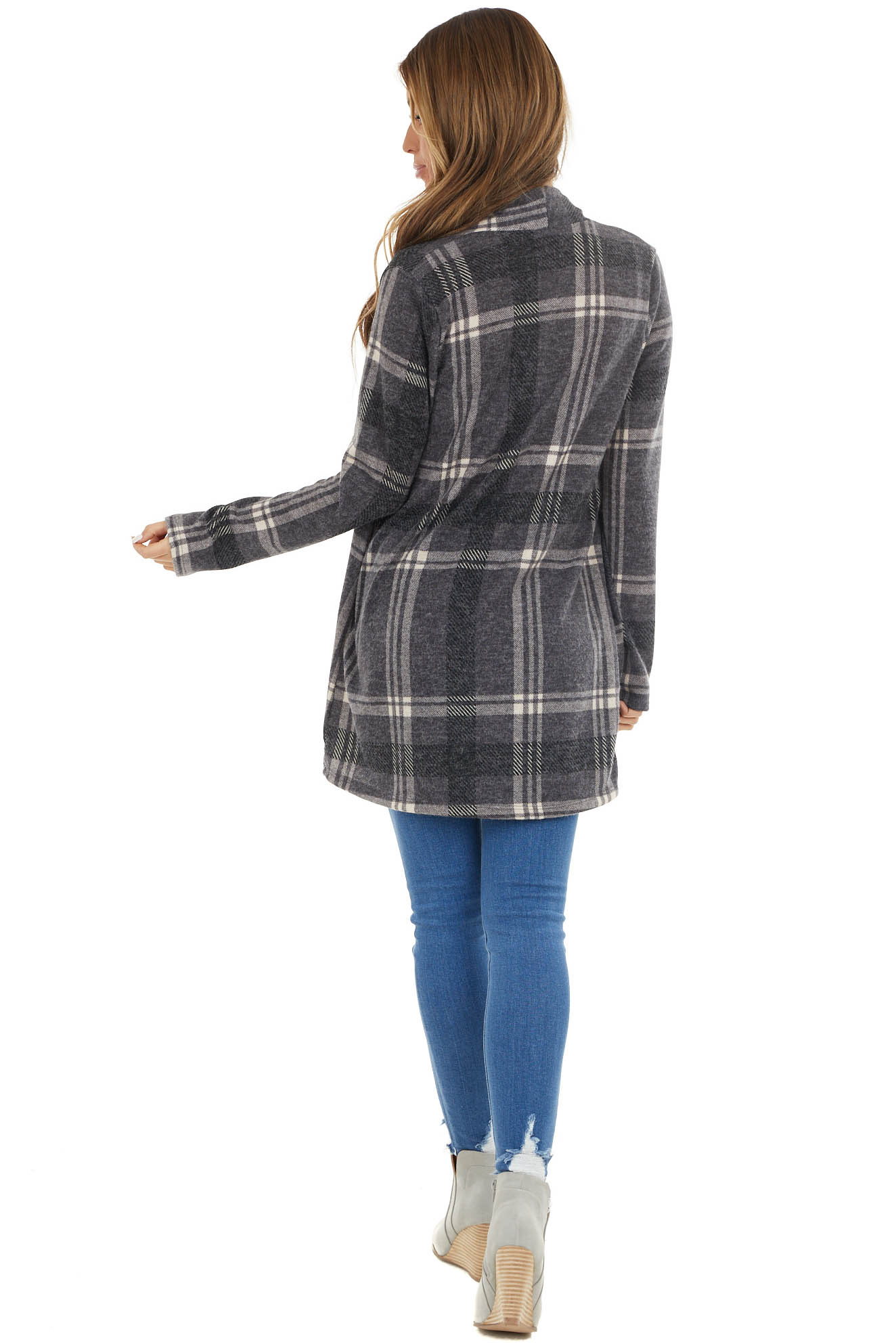 Charcoal Grey Plaid Open Front Long Sleeve Cardigan