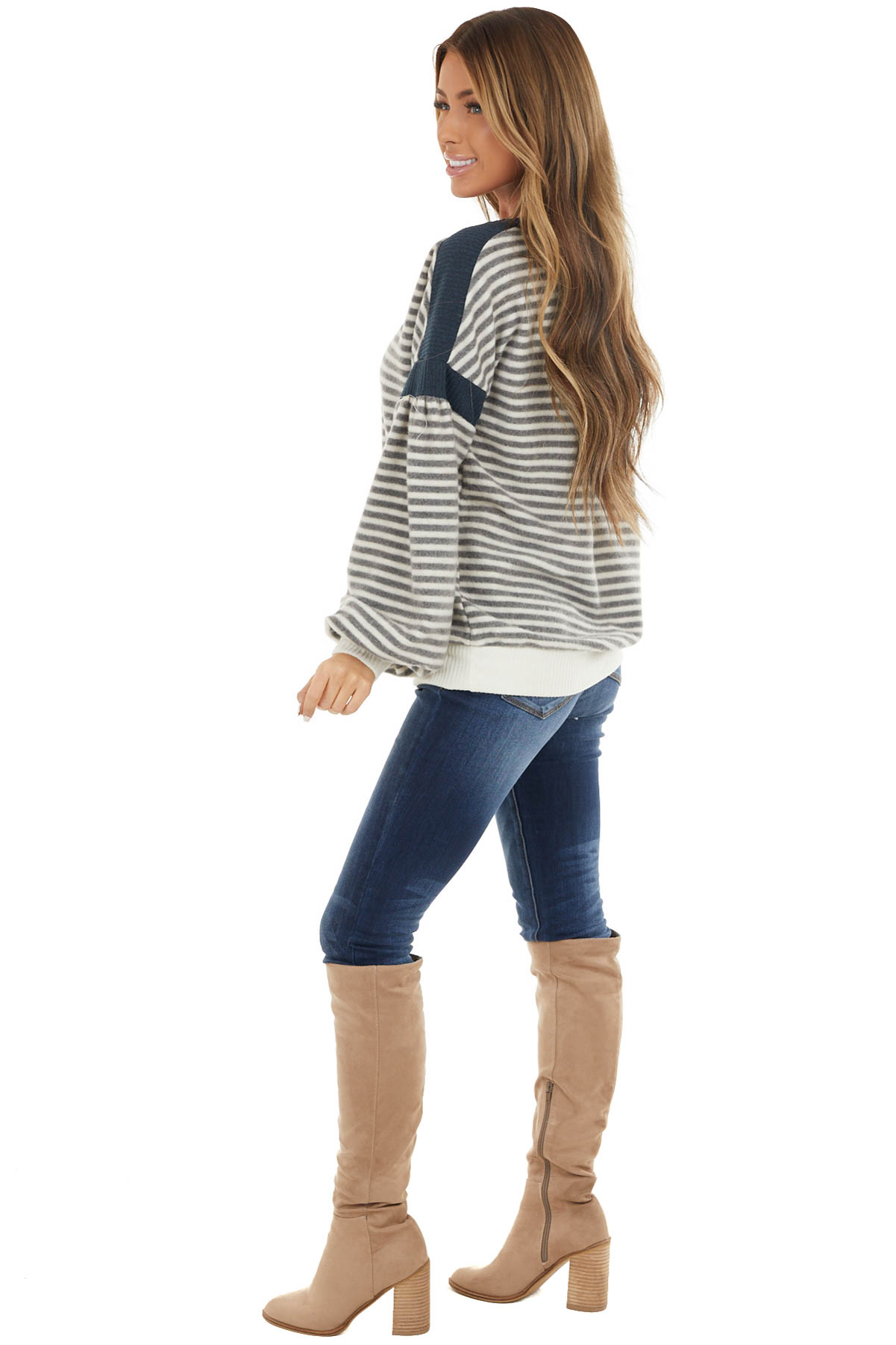 Stone and Cream Striped Fleece Knit Top with Bubble Sleeves