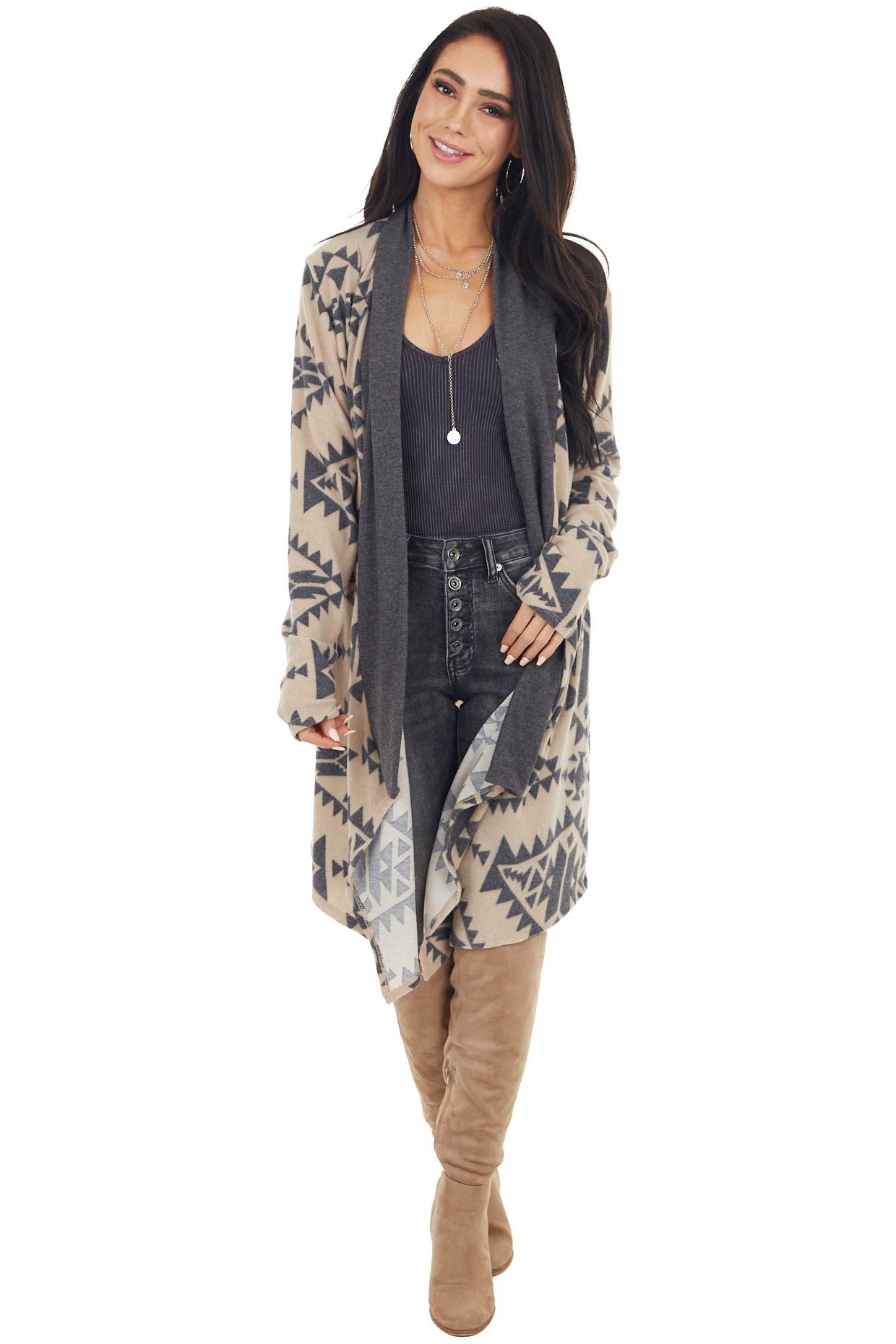 Charcoal Aztec Print Brushed Knit Open Front Cardigan