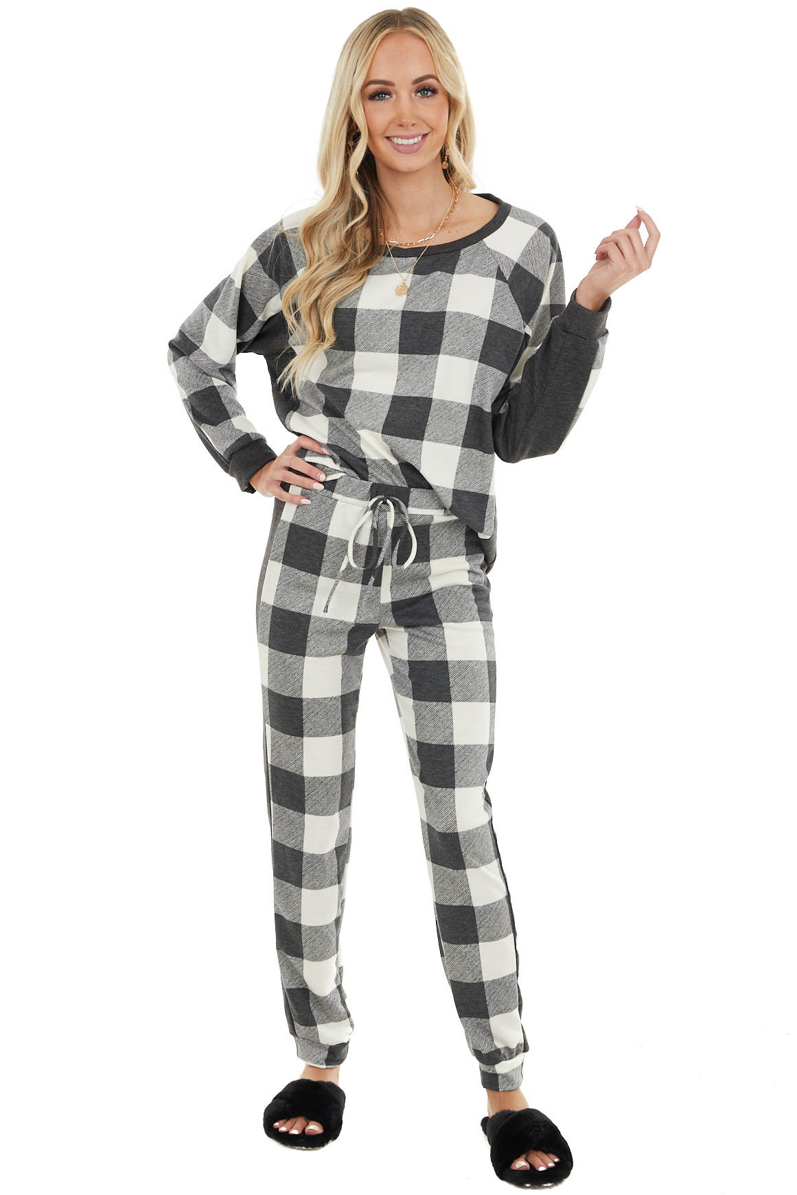 Ivory and Charcoal Buffalo Plaid Top and Bottom Set