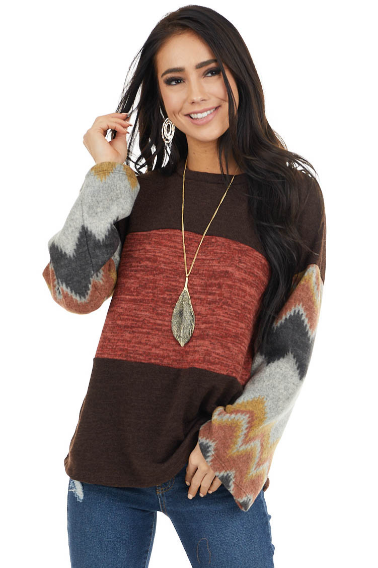 Chocolate Brown and Marsala Knit Top with Aztec Print Sleeve