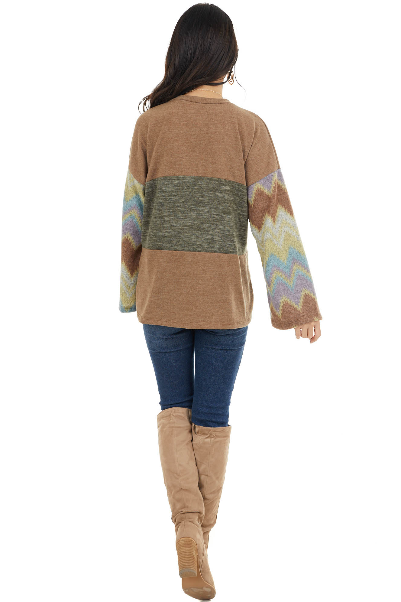 Olive and Hunter Green Knit Top with Aztec Print Sleeves