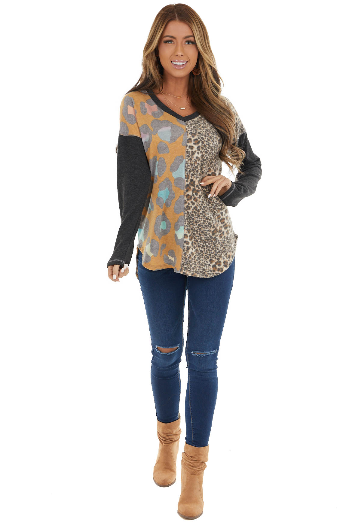 Charcoal Multicolored Leopard Print Long Sleeve Knit Top