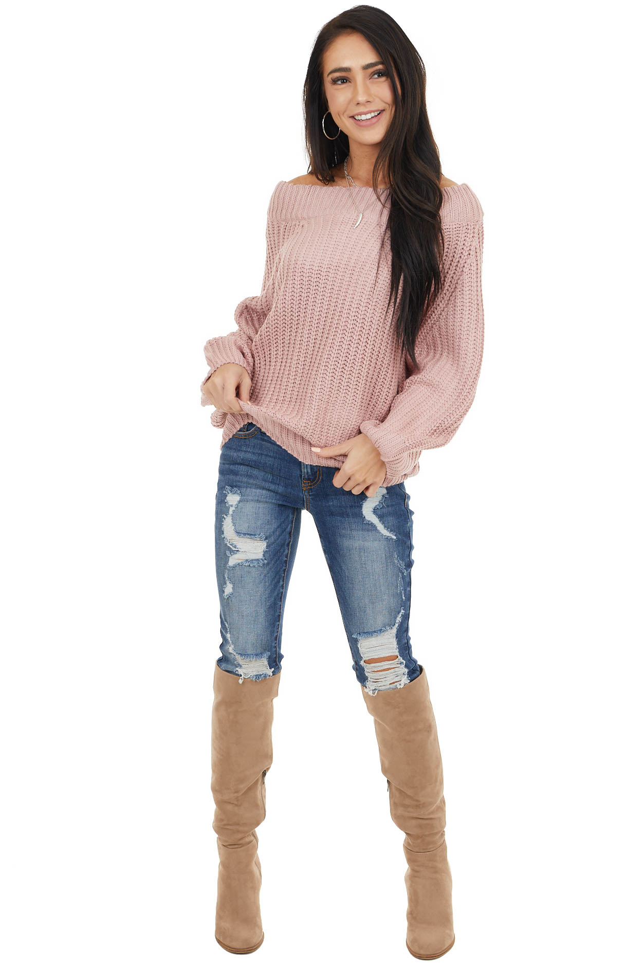Dusty Blush Off the Shoulder Sweater with Bubble Sleeves