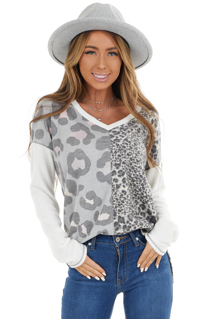 White and Grey Leopard Print Long Sleeve Knit Top