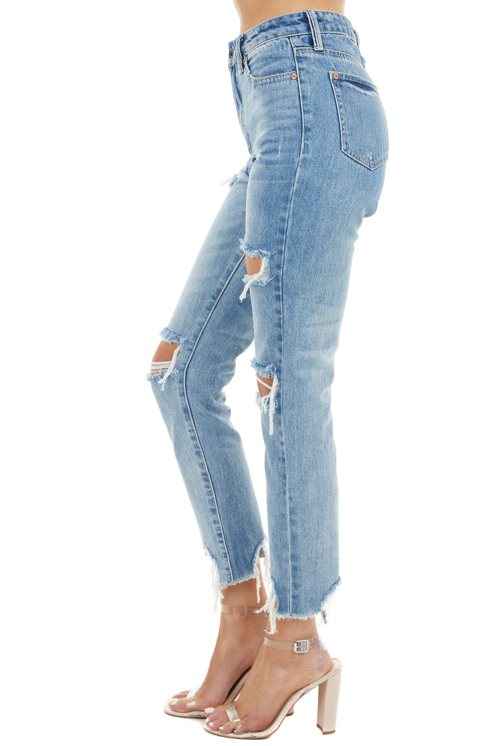 Medium Wash Distressed High Rise Relaxed Jeans