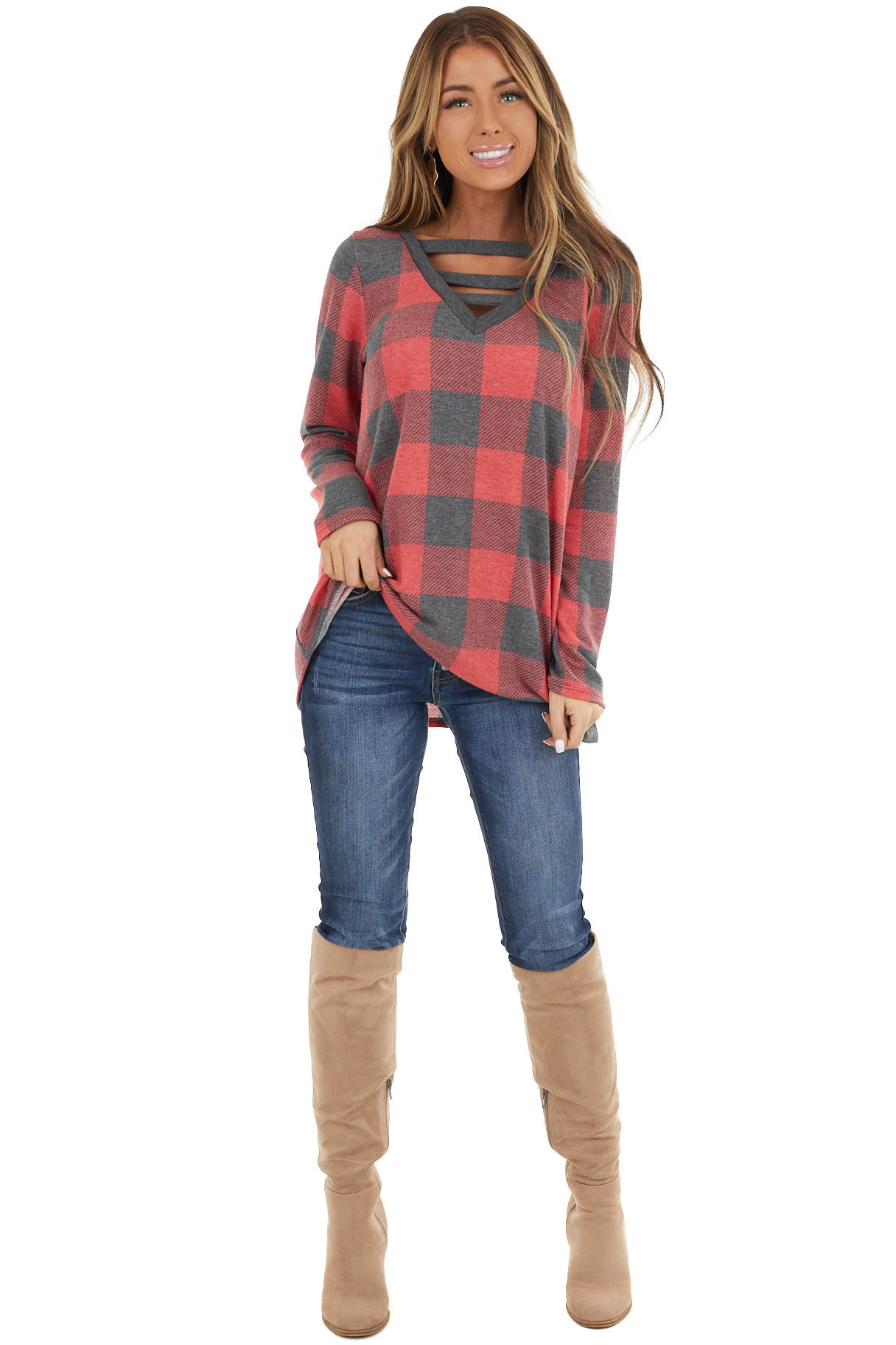 Ruby Red Buffalo Plaid Long Sleeve Top with Caged Detail