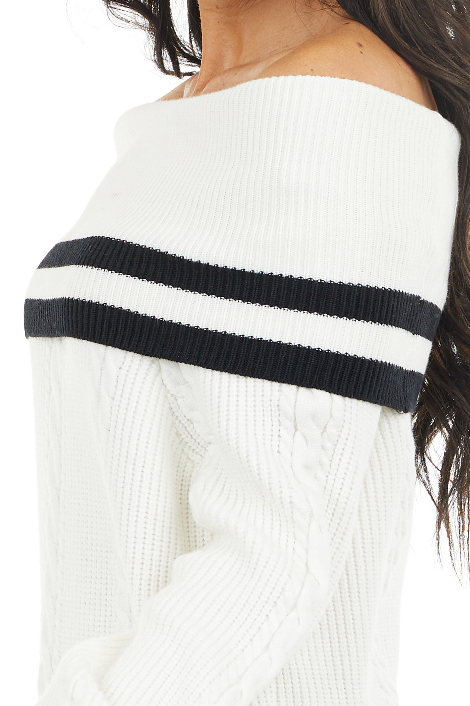 Off White Cable Knit Off Shoulder Sweater with Black Stripes